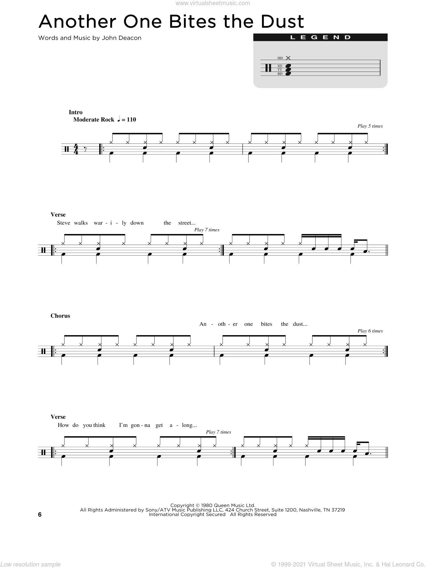 Another One Bites The Dust sheet music for drums (percussions) by Queen and John Deacon, intermediate skill level