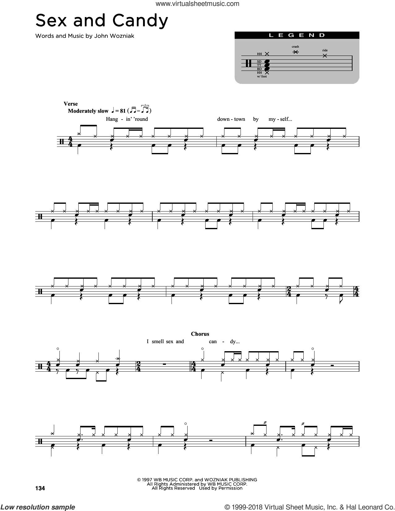 Sex And Candy sheet music for drums (percussions) by Marcy Playground and John Wozniak, intermediate skill level