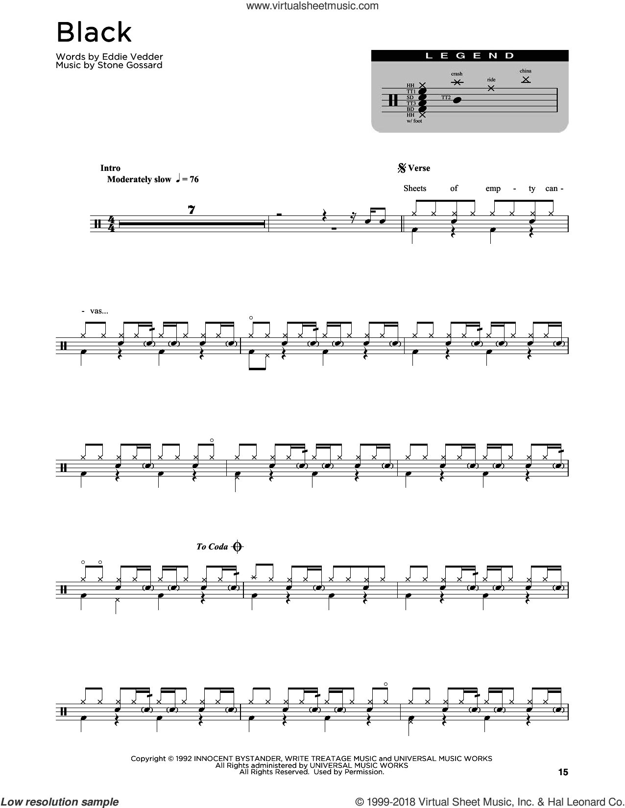 Black sheet music for drums (percussions) by Pearl Jam, Eddie Vedder and Stone Gossard, intermediate skill level