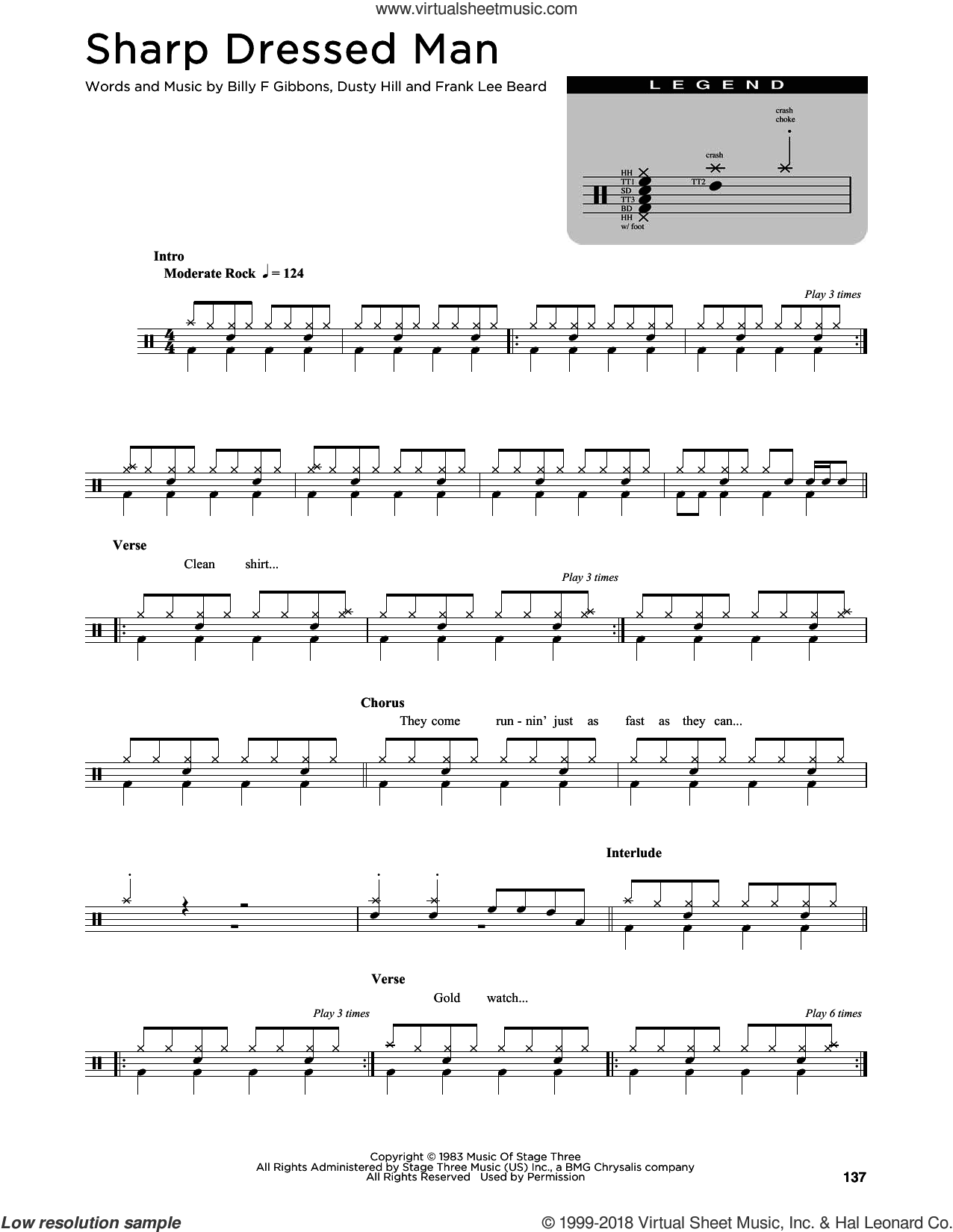 Sharp Dressed Man sheet music for drums (percussions) by ZZ Top, Billy Gibbons, Dusty Hill and Frank Beard, intermediate skill level