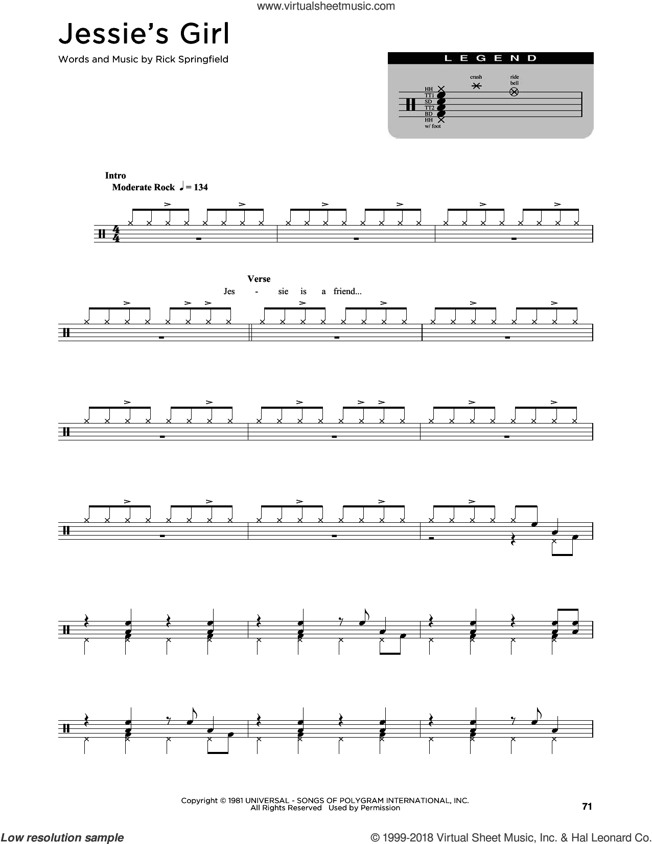 Jessie's Girl sheet music for drums (percussions) by Rick Springfield, intermediate skill level