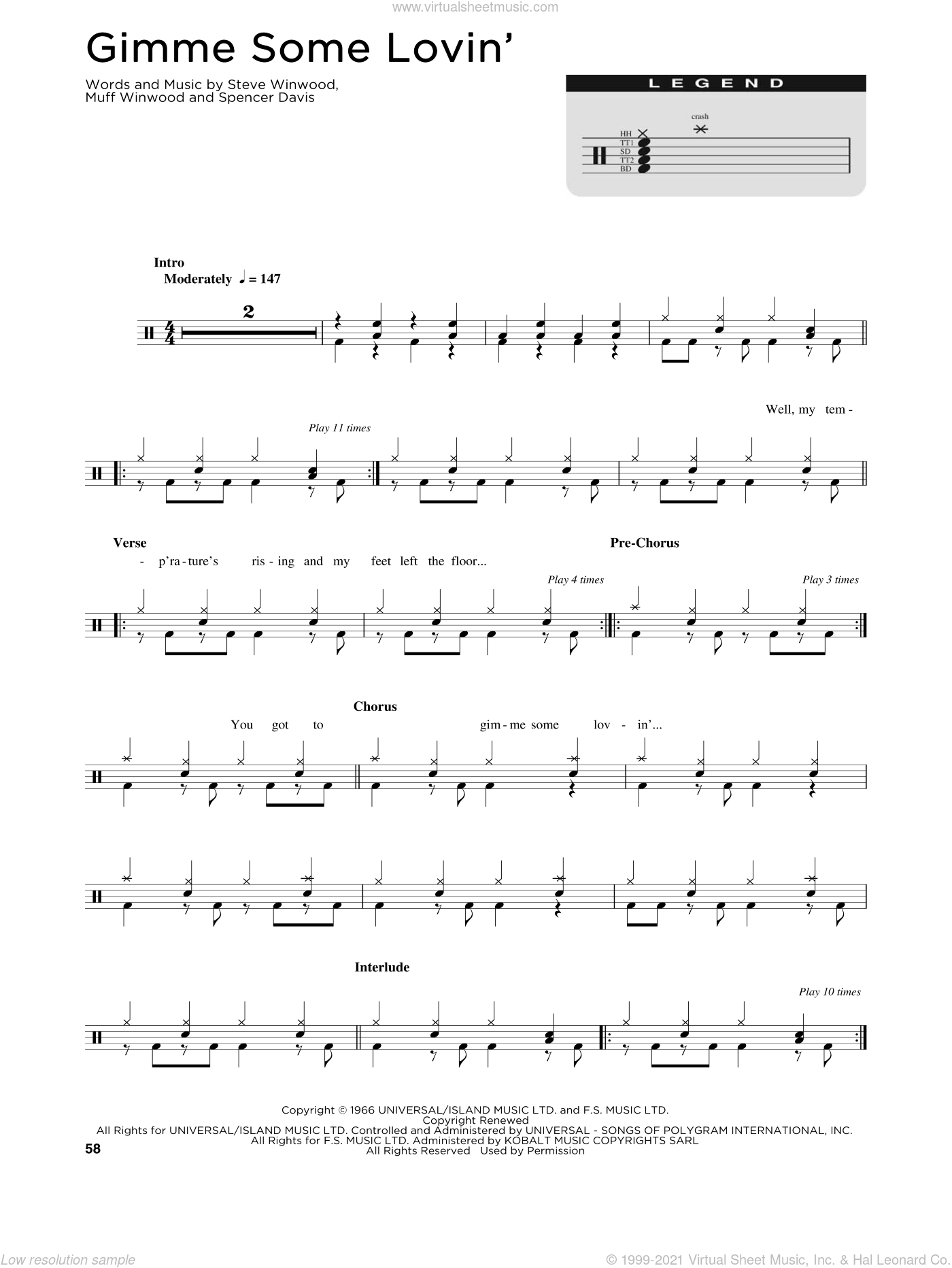 Gimme Some Lovin' sheet music for drums (percussions) by The Spencer Davis Group, Muff Winwood, Spencer Davis and Steve Winwood, intermediate skill level