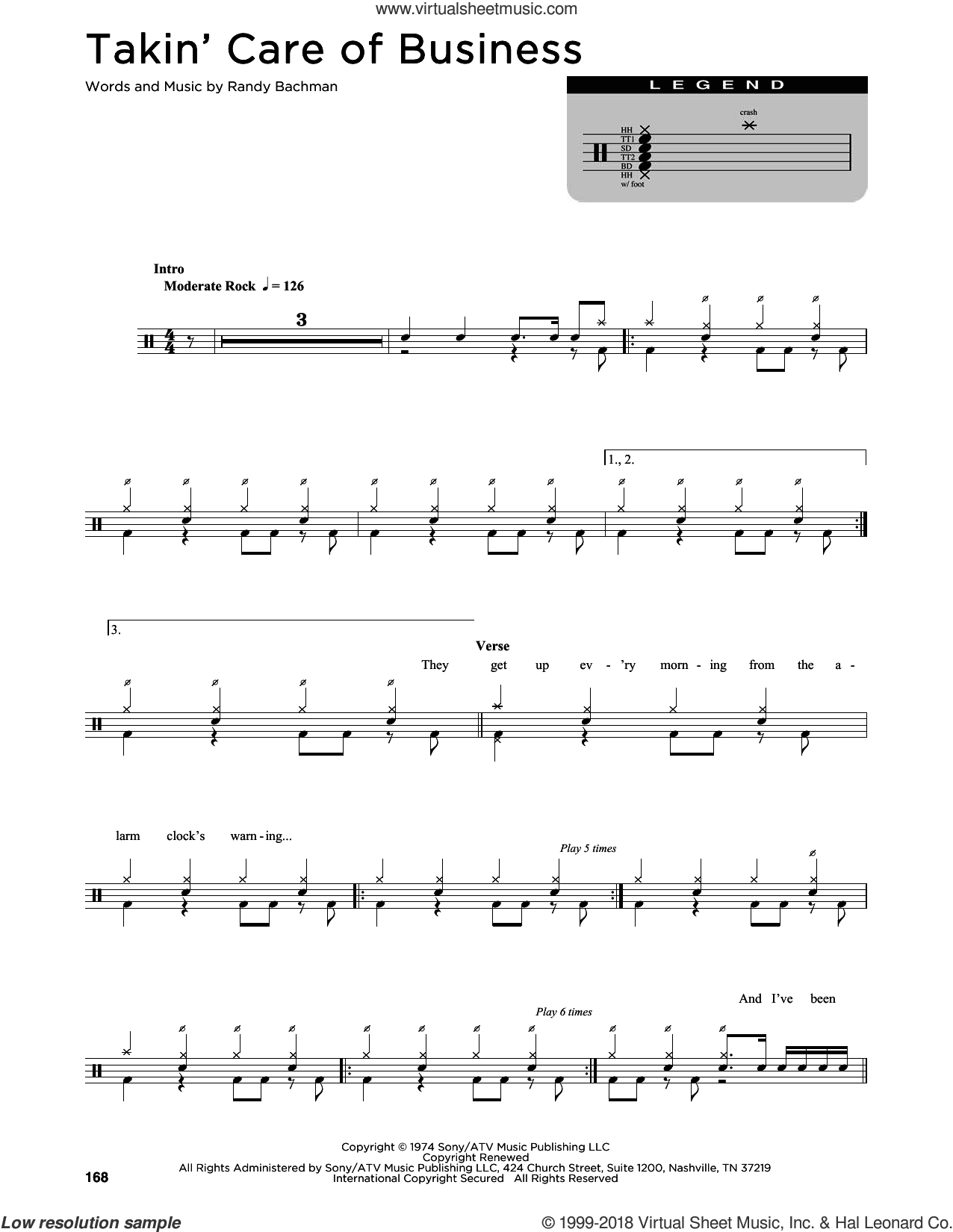 Takin' Care Of Business sheet music for drums (percussions) by Bachman-Turner Overdrive and Randy Bachman, intermediate skill level
