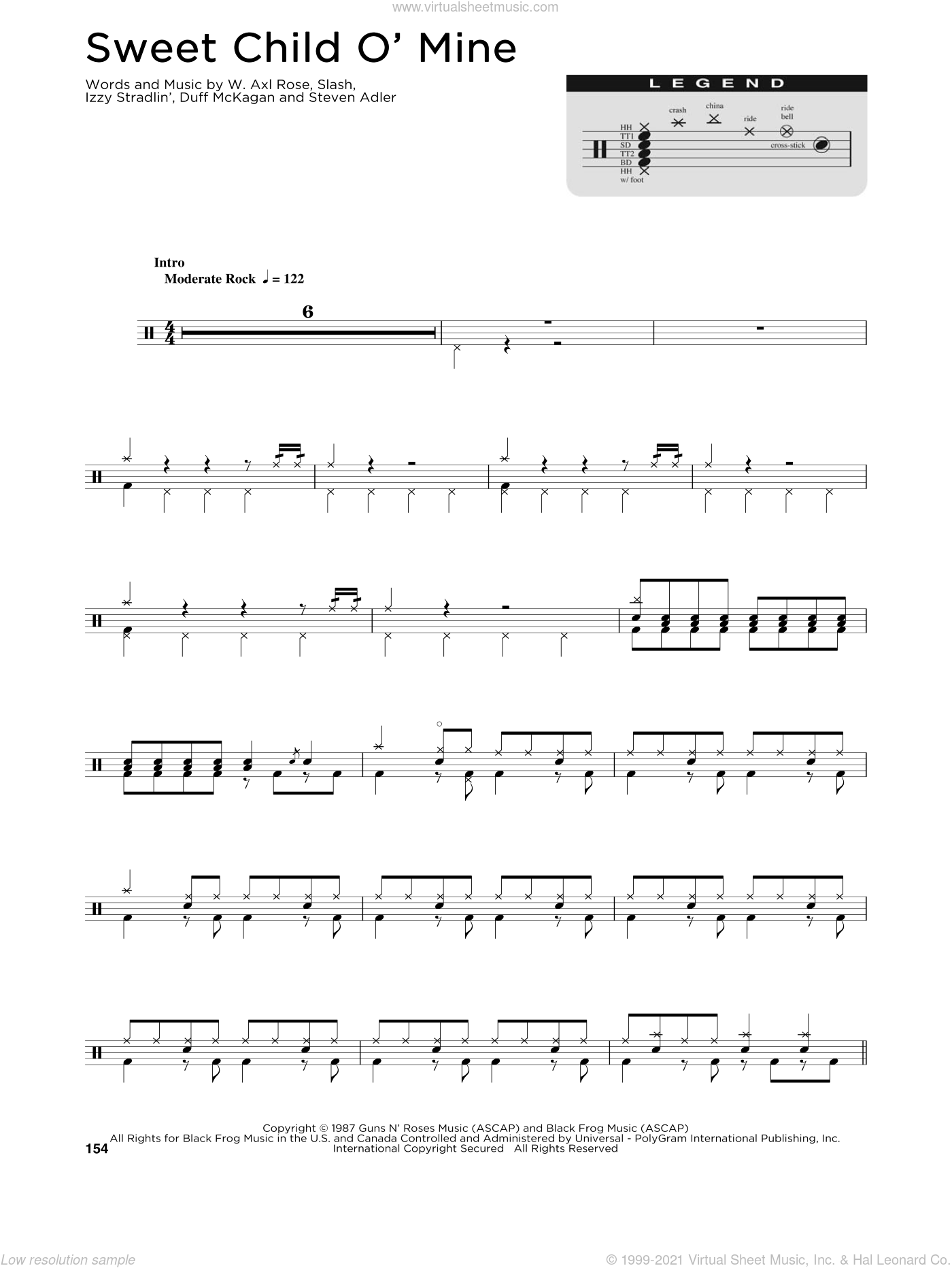Sweet Child O' Mine sheet music for drums (percussions) by Guns N' Roses, Axl Rose, Duff McKagan, Slash and Steven Adler, intermediate skill level