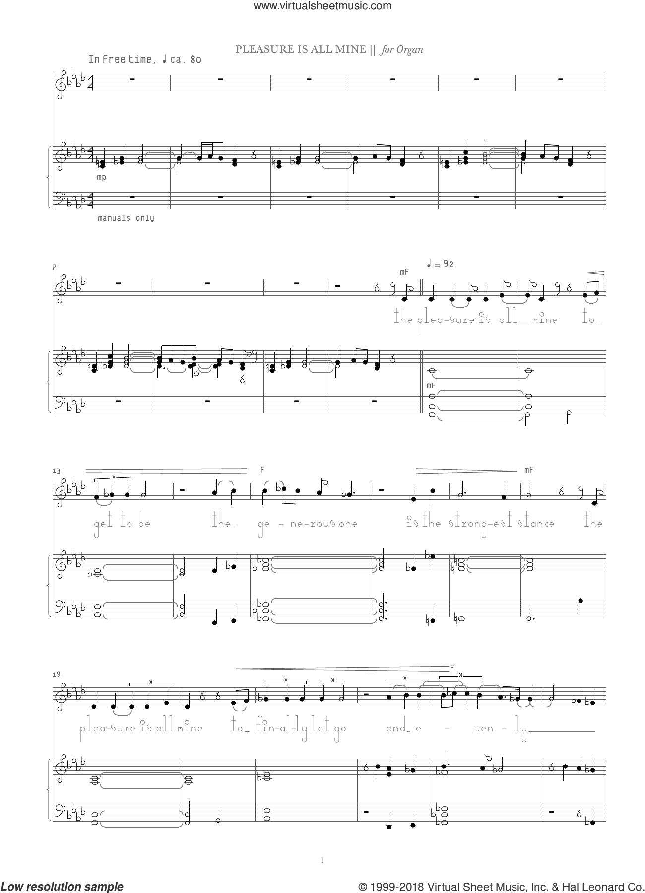 Pleasure Is All Mine sheet music for organ by Bjork Gudmundsdottir, intermediate skill level