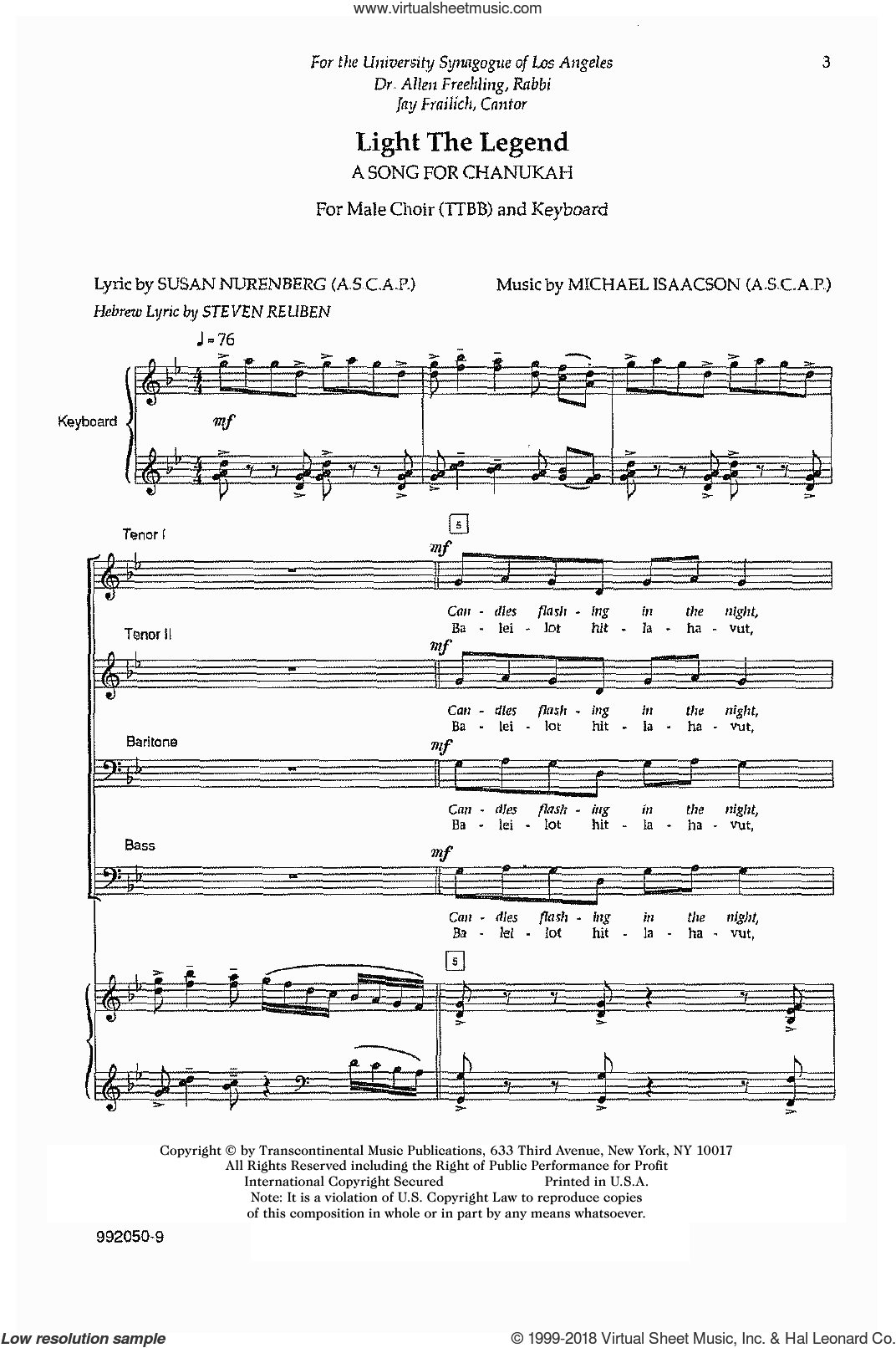Light The Legend sheet music for choir (TTBB: tenor, bass) by Michael Isaacson, intermediate skill level