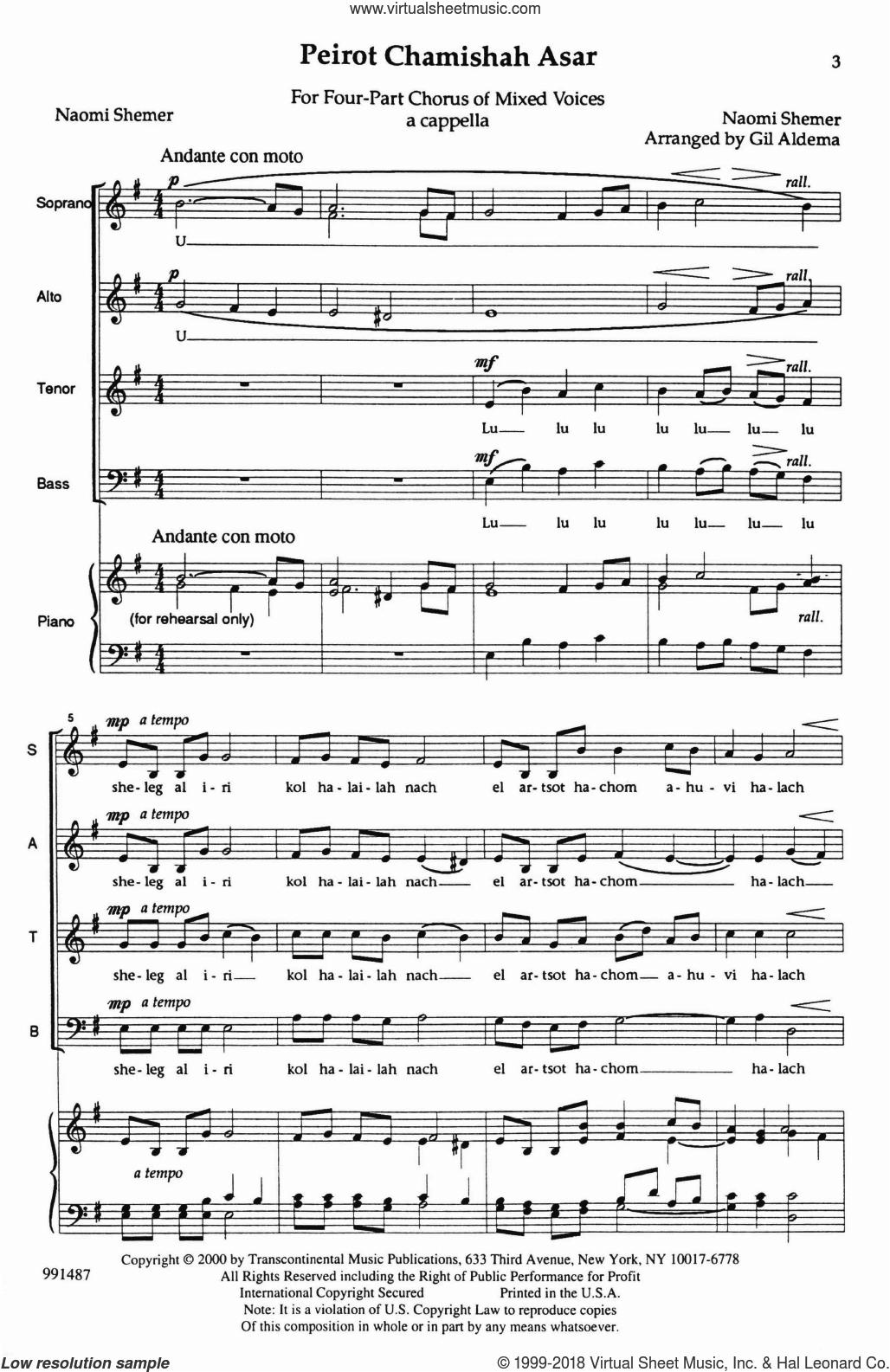 Peirot Chamishah Asar (Snow On My Town) sheet music for choir (SATB: soprano, alto, tenor, bass) by Gil Aldema and Naomi Shemer, intermediate skill level