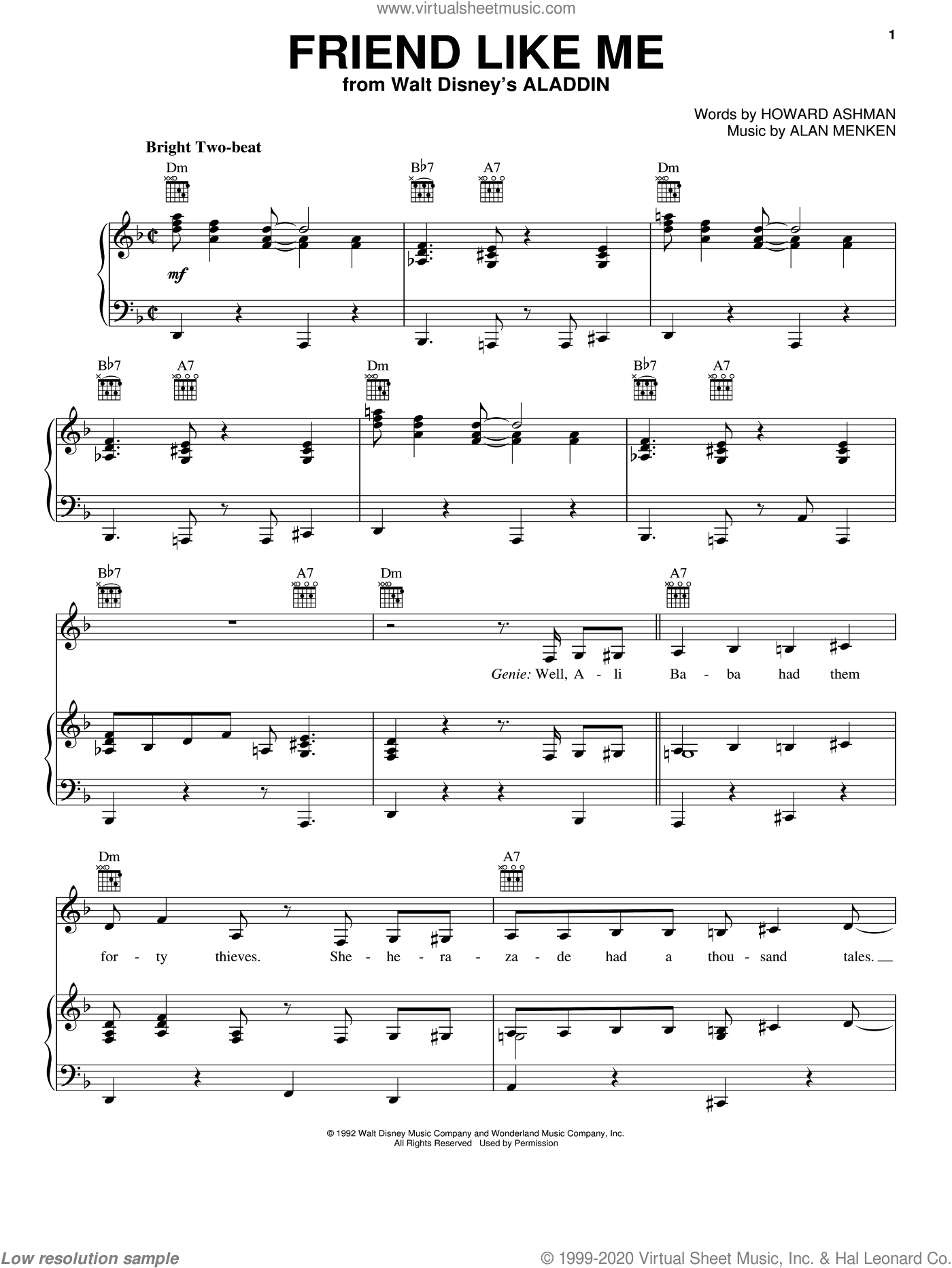 Friend Like Me sheet music for voice, piano or guitar by Alan Menken and Howard Ashman, intermediate skill level