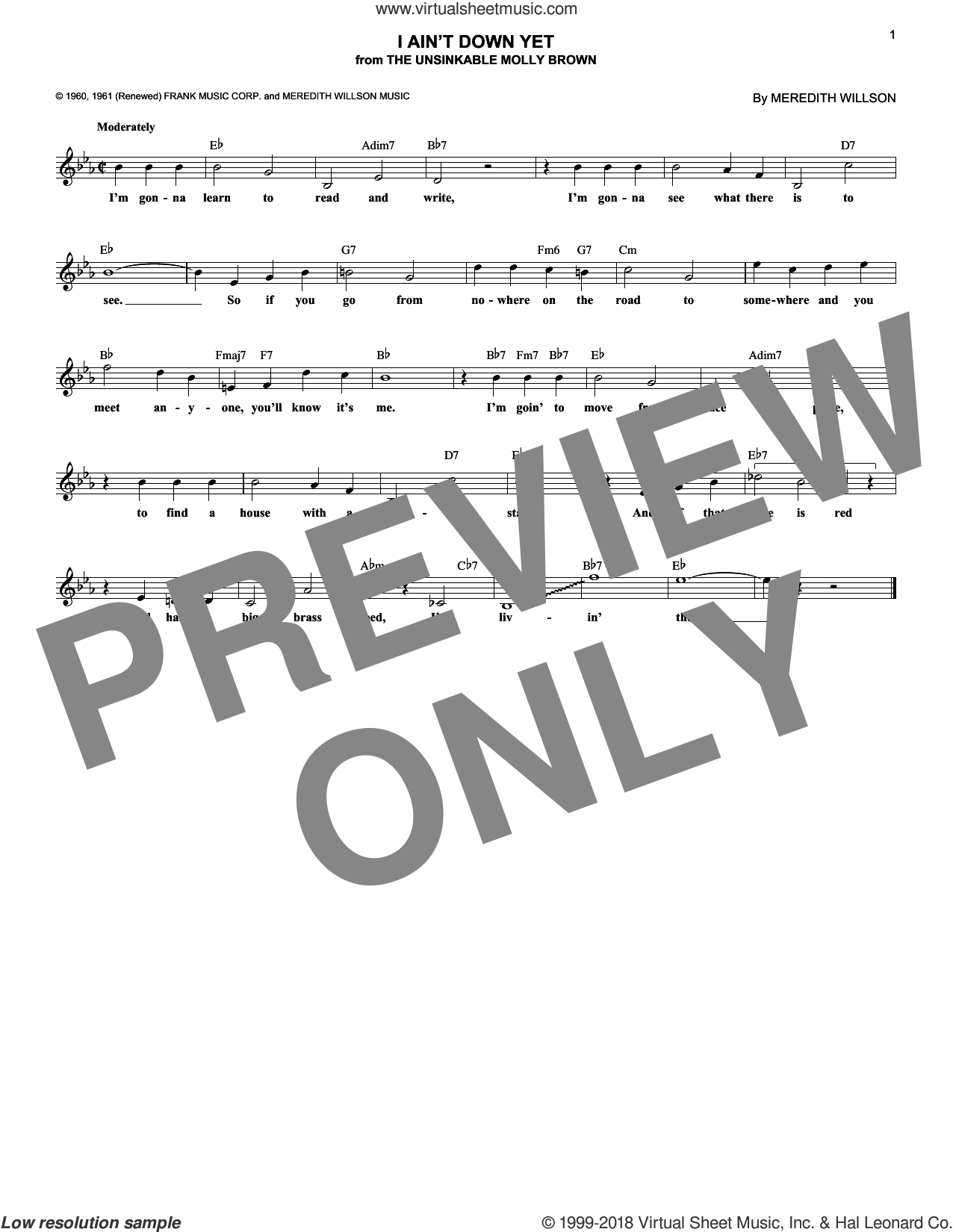 I Ain't Down Yet sheet music for voice and other instruments (fake book) by Meredith Willson, intermediate skill level