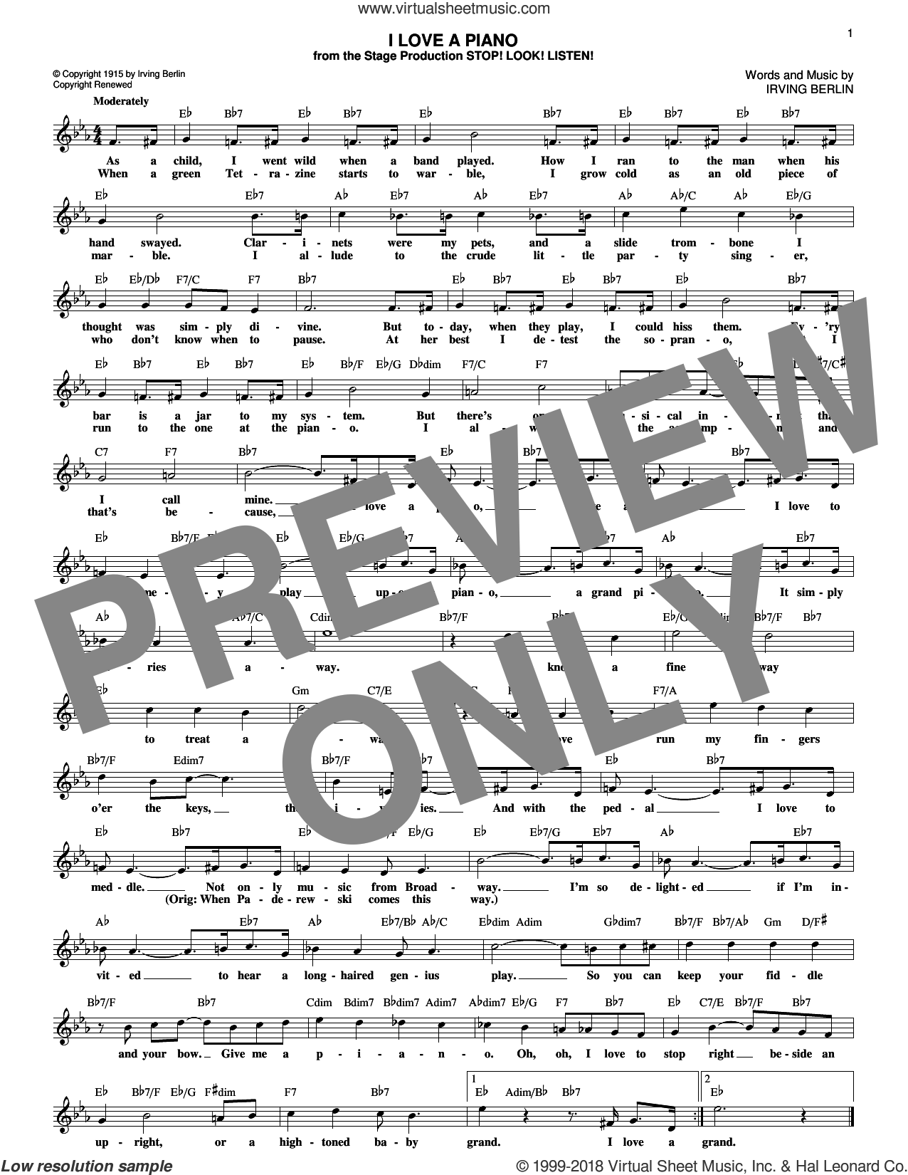 I Love A Piano sheet music for voice and other instruments (fake book) by Irving Berlin, intermediate skill level