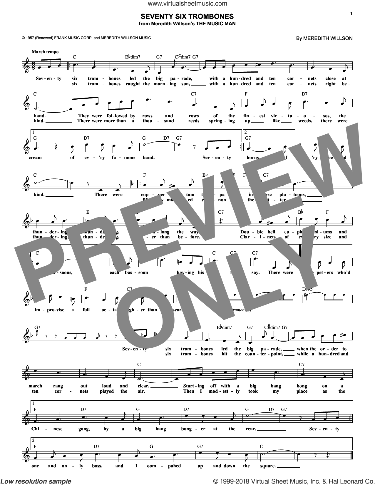 Seventy Six Trombones sheet music for voice and other instruments (fake book) by Meredith Willson, intermediate skill level