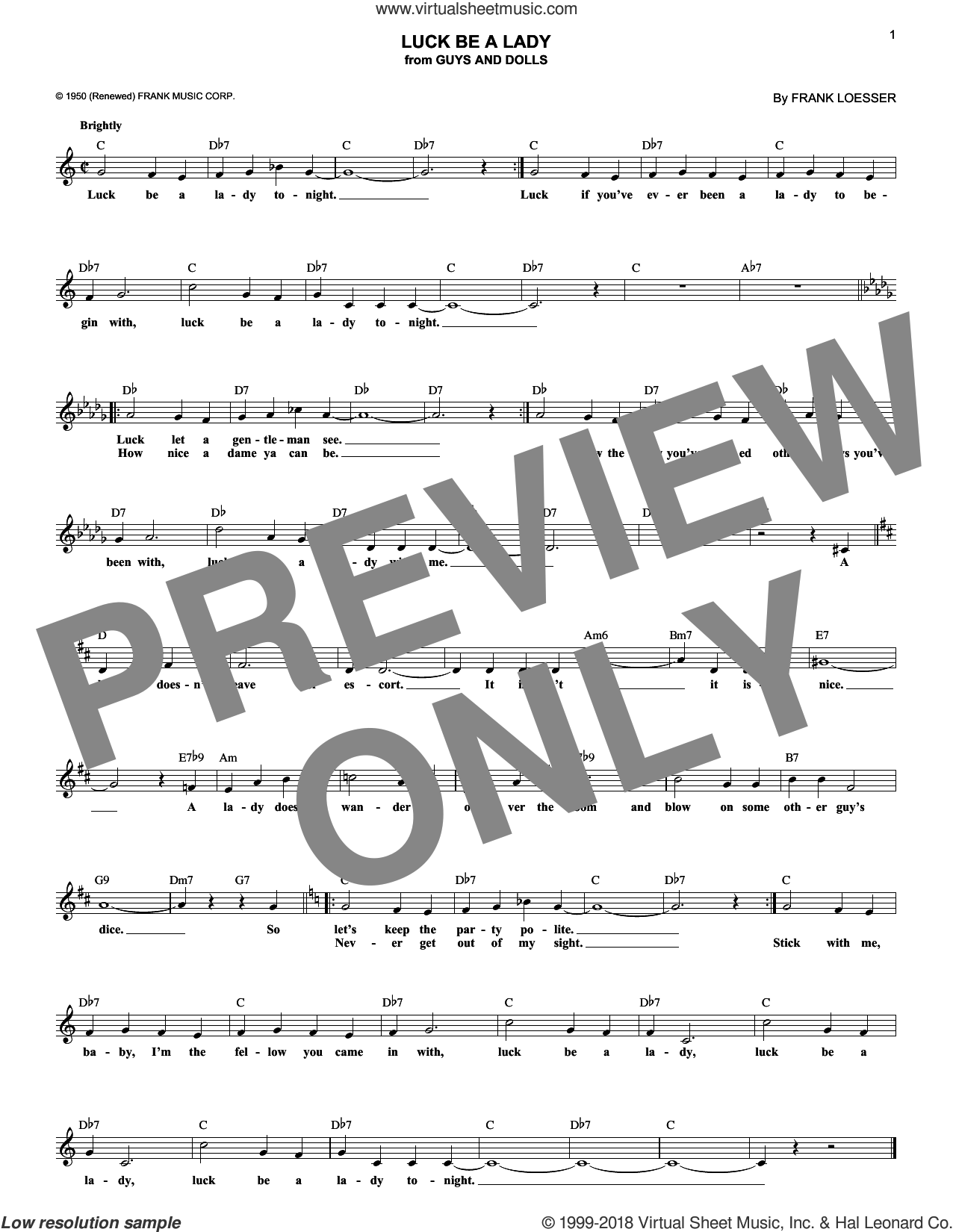 Luck Be A Lady sheet music for voice and other instruments (fake book) by Frank Loesser, intermediate skill level