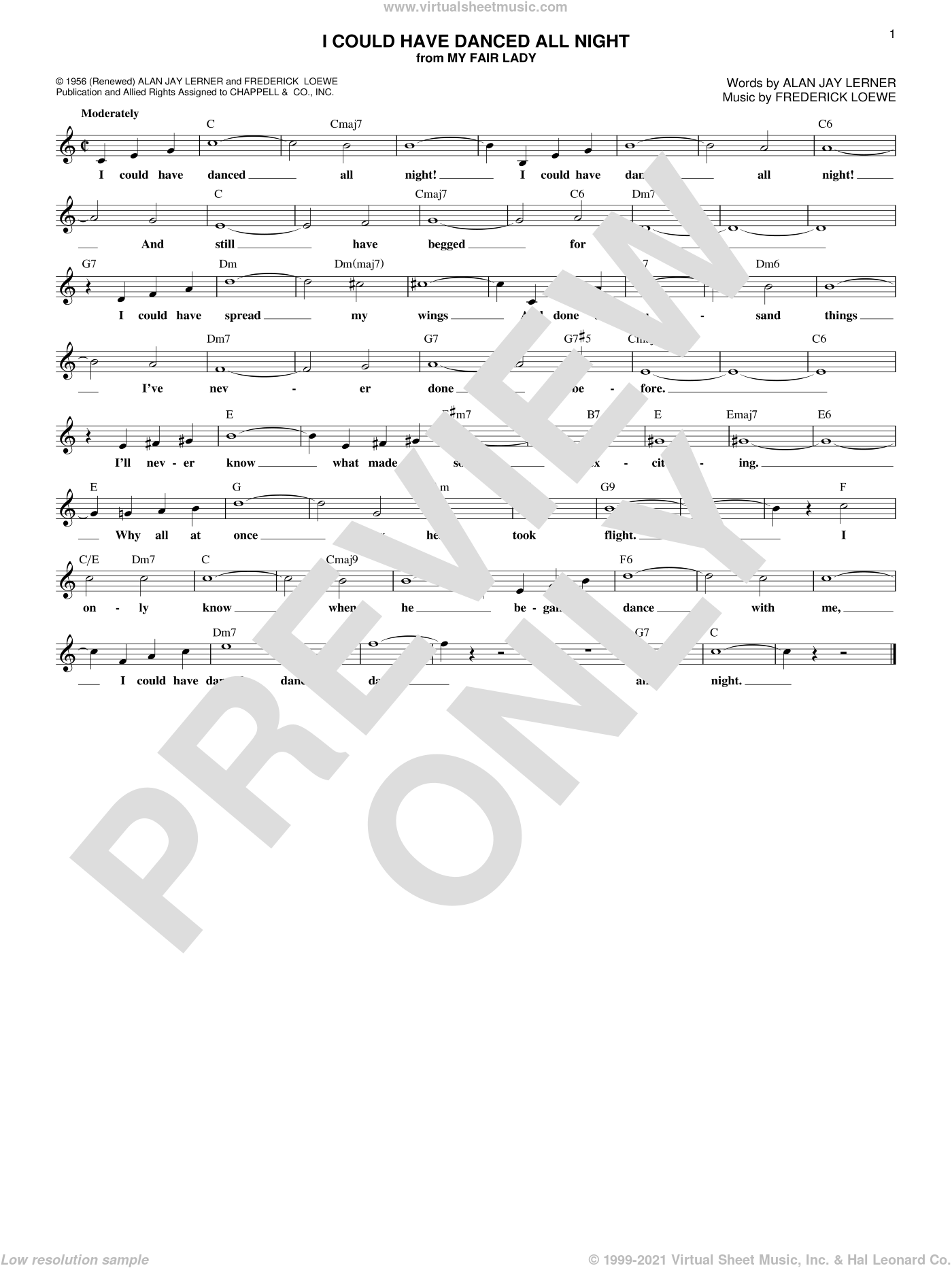 I Could Have Danced All Night sheet music for voice and other instruments (fake book) by Alan Jay Lerner and Frederick Loewe, intermediate skill level