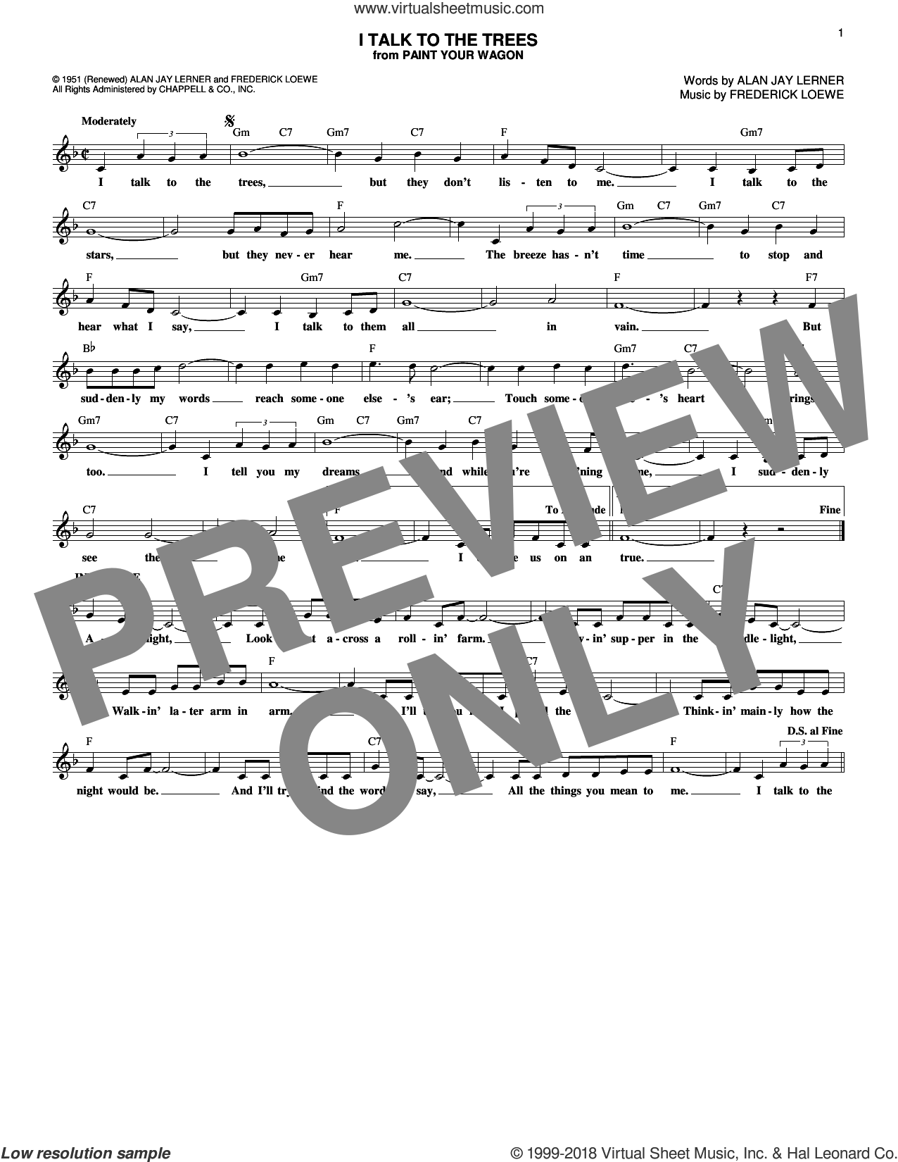 I Talk To The Trees sheet music for voice and other instruments (fake book) by Alan Jay Lerner and Frederick Loewe, intermediate skill level