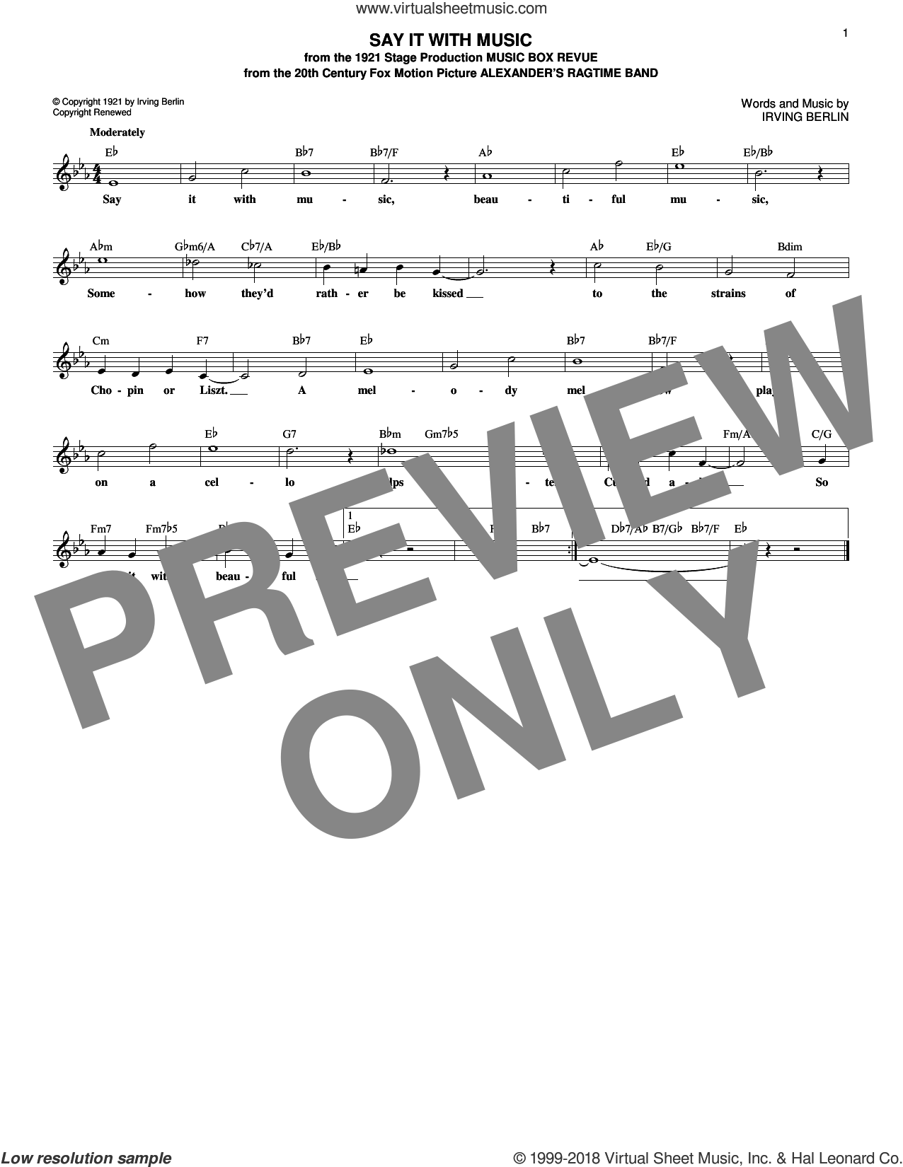Say It With Music sheet music for voice and other instruments (fake book) by Irving Berlin, intermediate skill level