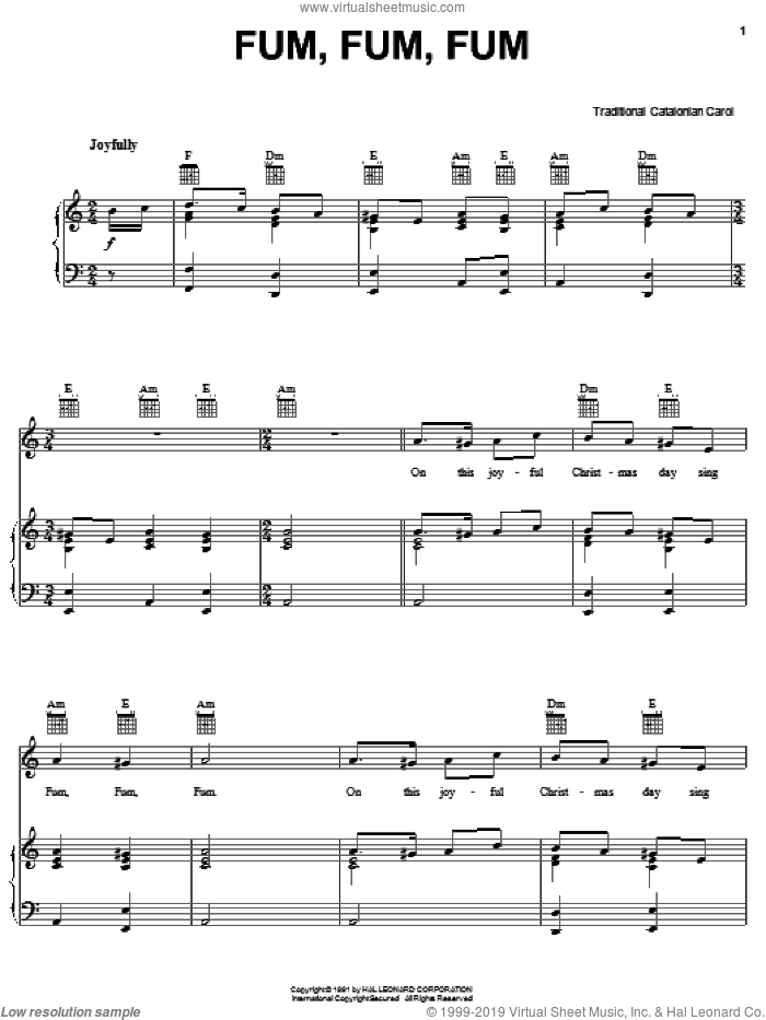 Fum, Fum, Fum sheet music for voice, piano or guitar. Score Image Preview.