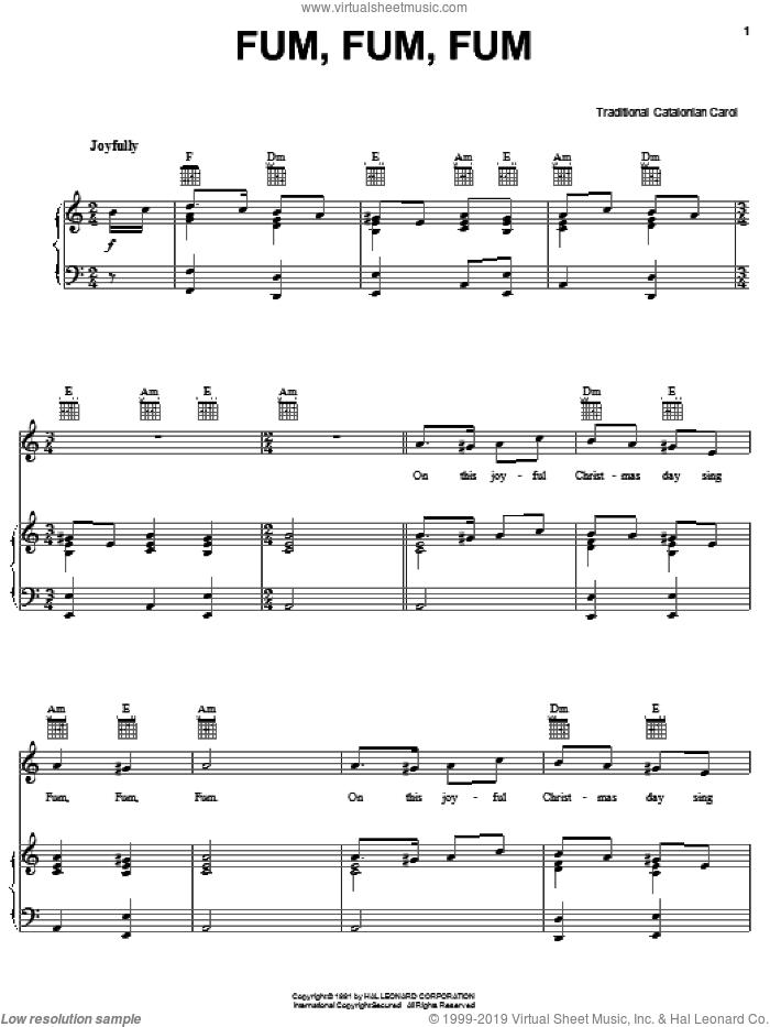 Fum, Fum, Fum sheet music for voice, piano or guitar, intermediate skill level