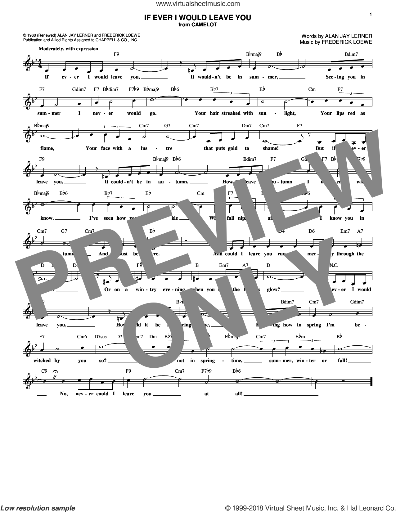 If Ever I Would Leave You sheet music for voice and other instruments (fake book) by Alan Jay Lerner and Frederick Loewe, intermediate skill level