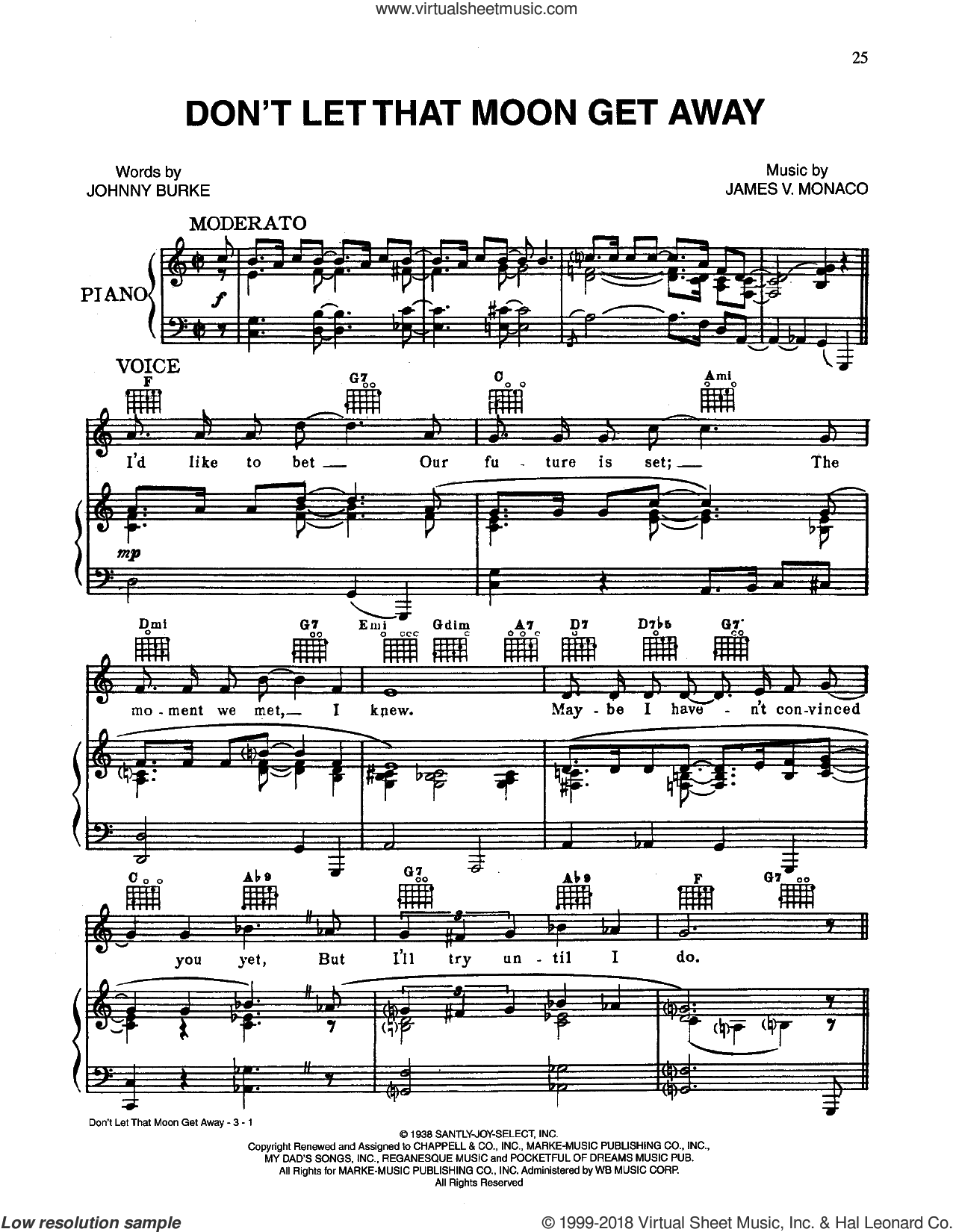 Don't Let That Moon Get Away sheet music for voice, piano or guitar by John Burke and James Monaco, intermediate skill level