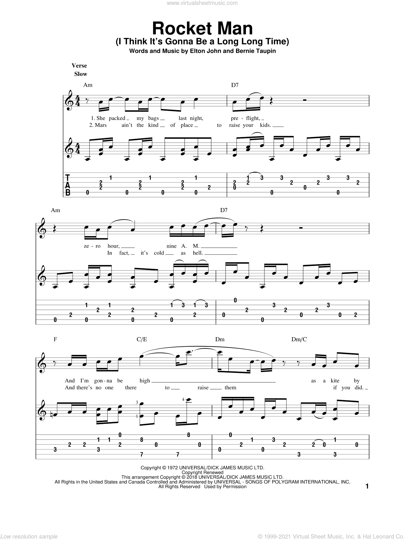 Rocket Man (I Think It's Gonna Be A Long Long Time) sheet music for guitar solo by Elton John and Bernie Taupin, intermediate skill level