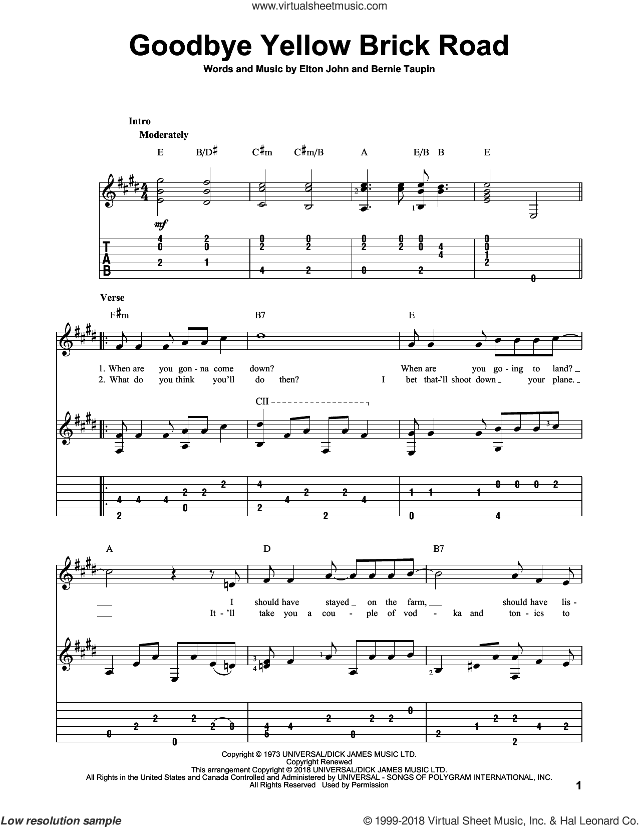 Goodbye Yellow Brick Road sheet music for guitar solo by Elton John and Bernie Taupin, intermediate skill level