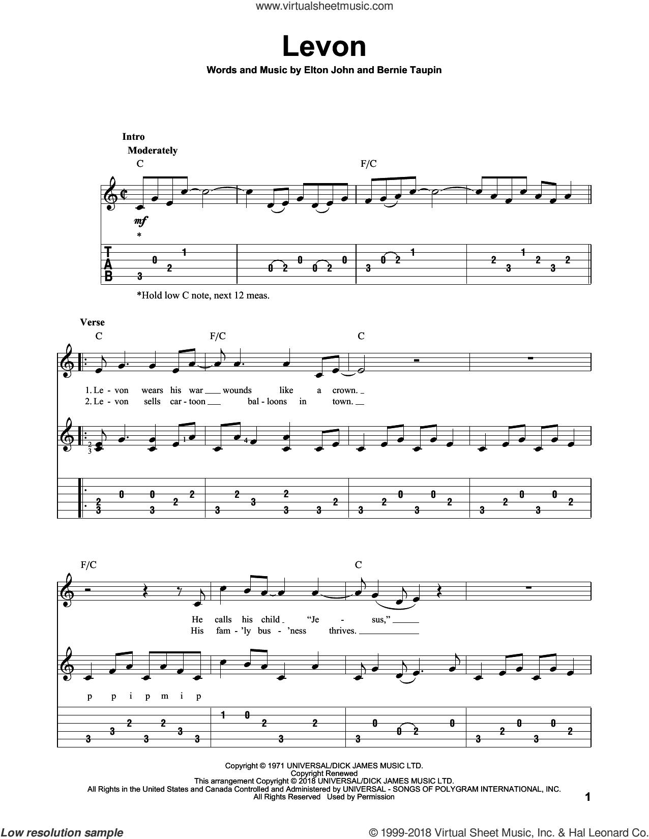 Levon sheet music for guitar solo by Elton John and Bernie Taupin, intermediate skill level