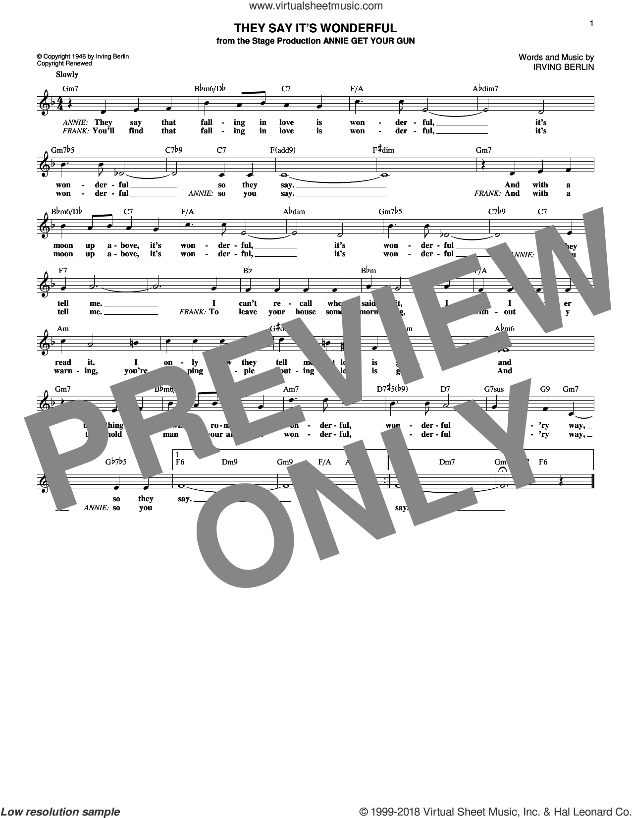 They Say It's Wonderful sheet music for voice and other instruments (fake book) by Irving Berlin, intermediate skill level