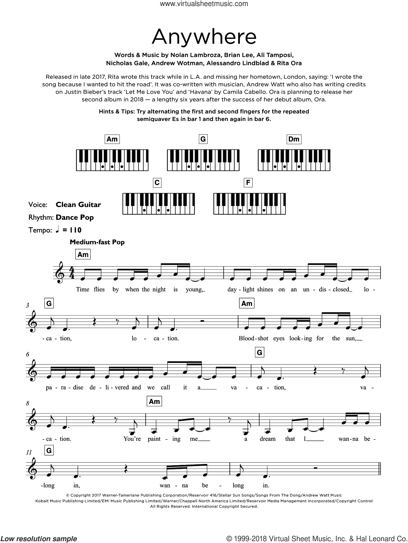 Anywhere sheet music for piano solo (keyboard) by Rita Ora, Alessandro Lindblad, Ali Tamposi, Andrew Wotman, Brian Lee, Nicholas Gale and Nolan Lambroza, intermediate piano (keyboard)