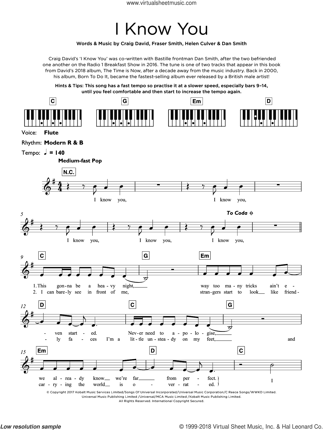 I Know You (featuring Bastille) sheet music for piano solo (keyboard) by Craig David, Bastille, Dan Smith, Fraser T. Smith and Helen Culver, intermediate piano (keyboard)