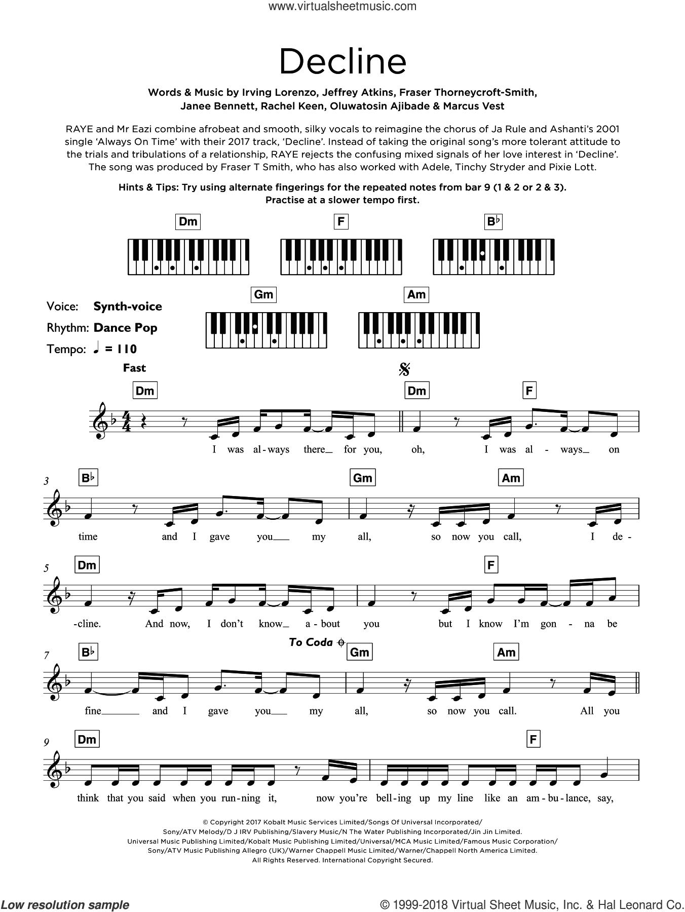 Decline sheet music for piano solo (keyboard) by Jeffrey Atkins, Don Raye, Mr Eazi, Fraser Thorneycroft-Smith, Irving Lorenzo, Janee Bennett, Marcus Vest, Oluwatosin Ajibade and Rachel Keen, intermediate piano (keyboard)