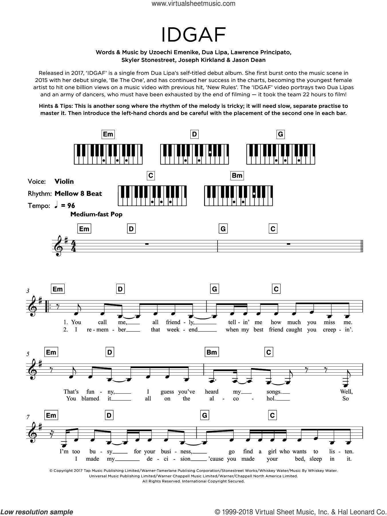 IDGAF sheet music for piano solo (keyboard) by Dua Lipa, Jason Dean, Joseph Kirkland, Lawrence Principato, Skyler Stonestreet and Uzoechi Emenike, intermediate piano (keyboard)