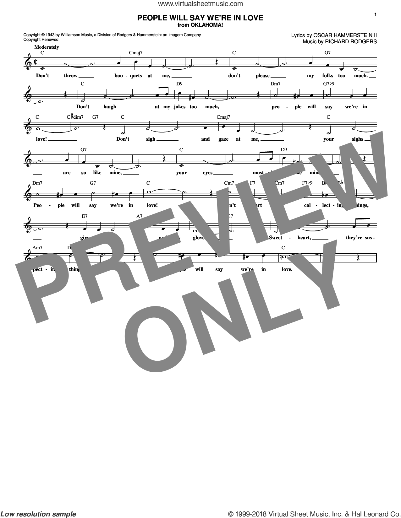 People Will Say We're In Love (from Oklahoma!) sheet music for voice and other instruments (fake book) by Rodgers & Hammerstein, Oscar II Hammerstein and Richard Rodgers, intermediate skill level