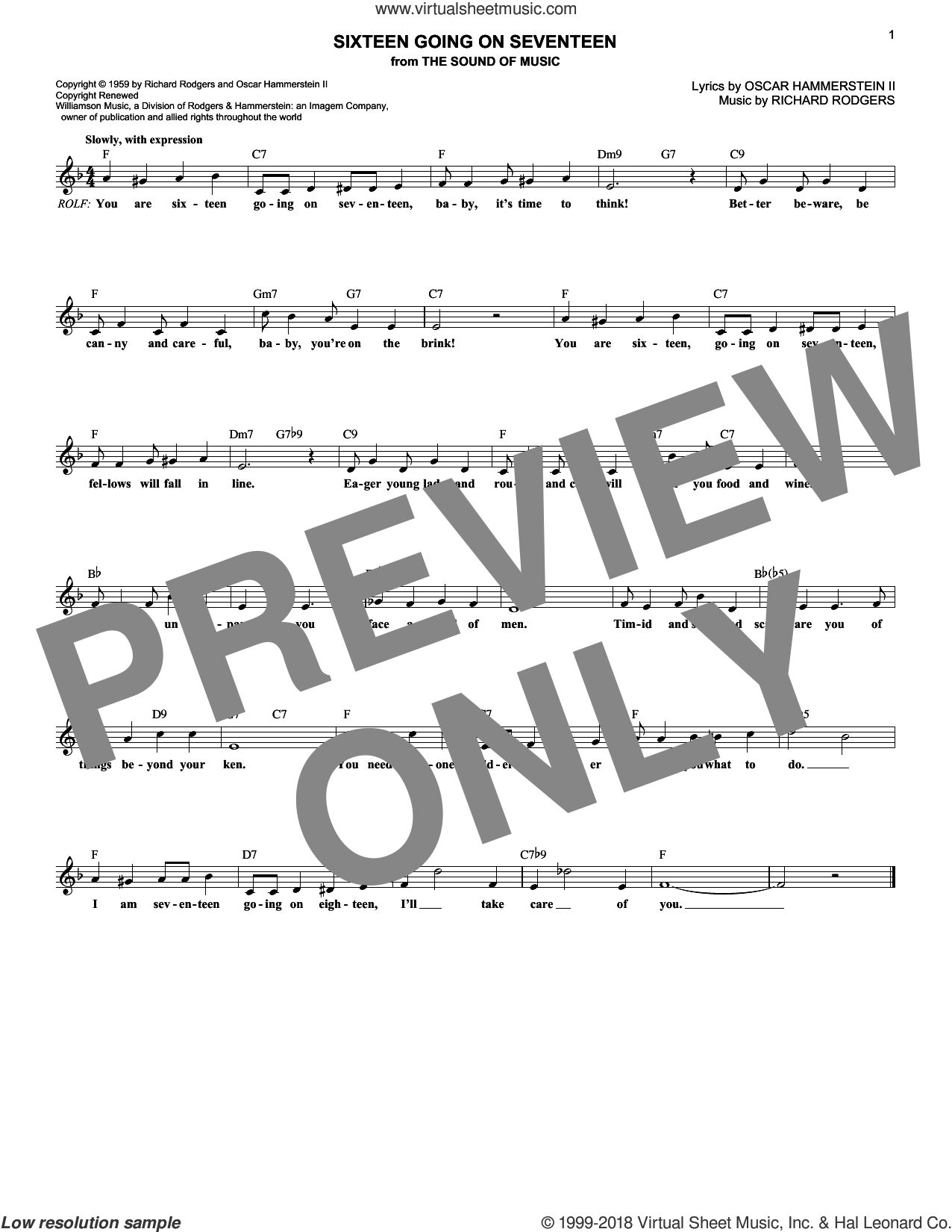 Sixteen Going On Seventeen (from The Sound of Music) sheet music for voice and other instruments (fake book) by Rodgers & Hammerstein, Oscar II Hammerstein and Richard Rodgers, intermediate skill level