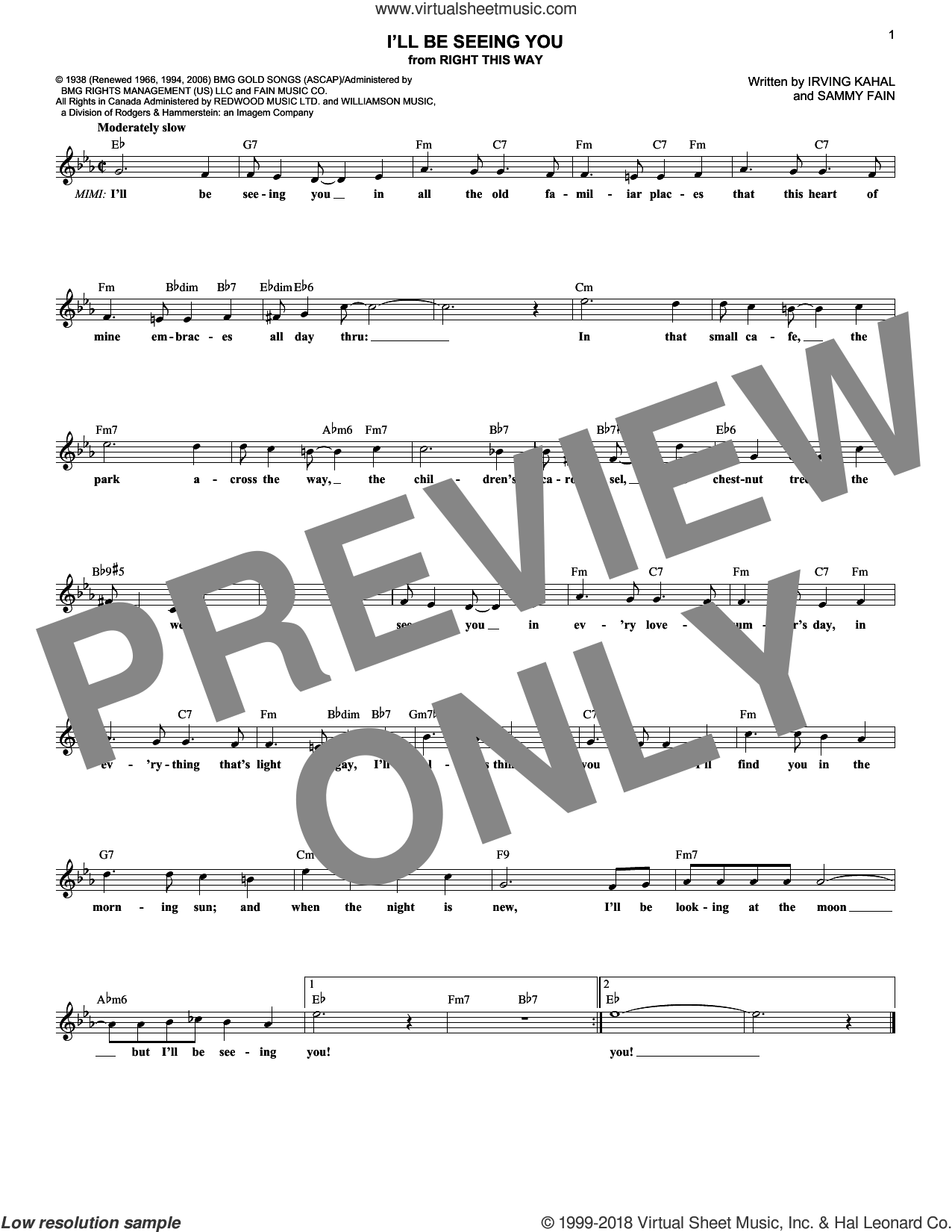 I'll Be Seeing You sheet music for voice and other instruments (fake book) by Sammy Fain and Irving Kahal, intermediate skill level