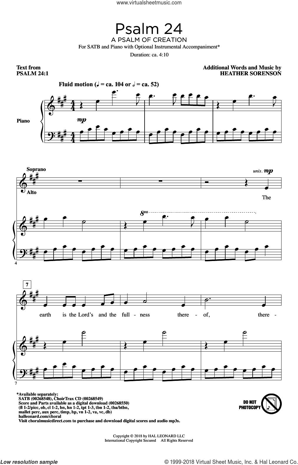 Psalm 24 (A Psalm Of Creation) sheet music for choir (SATB: soprano, alto, tenor, bass) by Heather Sorenson and Psalm 24:1, intermediate skill level