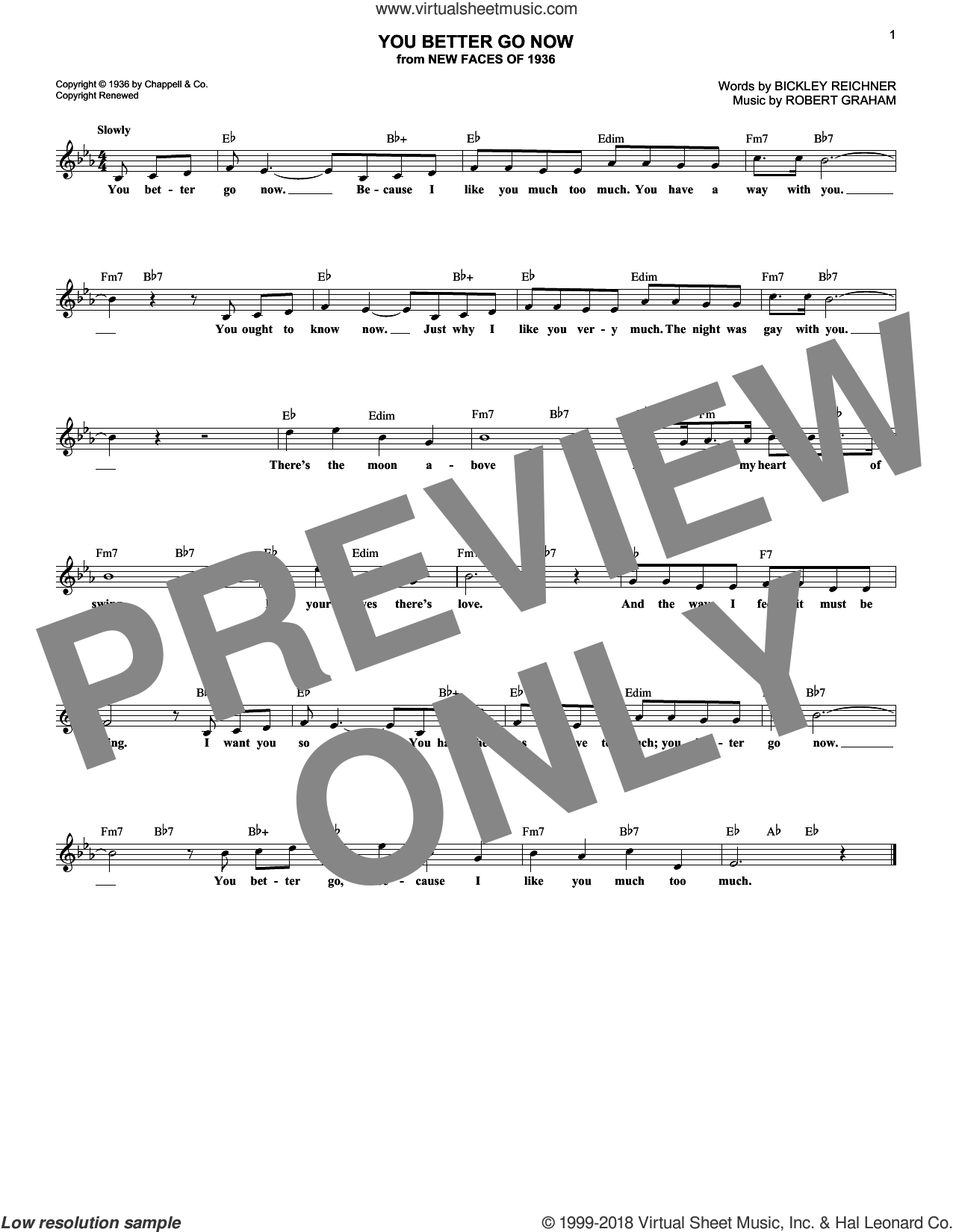 You Better Go Now sheet music for voice and other instruments (fake book) by Irvin Graham and Bickley Reichner, intermediate skill level