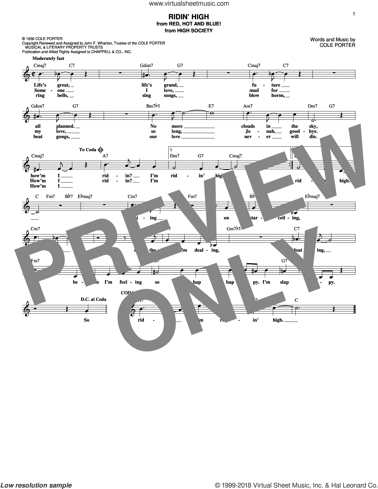 Ridin' High sheet music for voice and other instruments (fake book) by Cole Porter and Benny Goodman, intermediate skill level