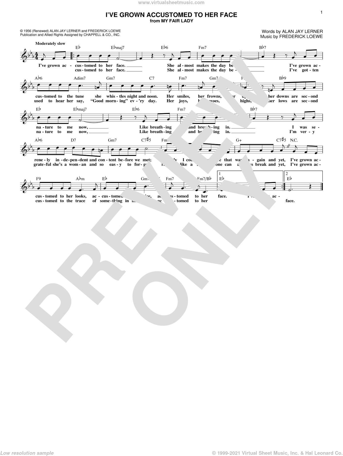 I've Grown Accustomed To Her Face (from My Fair Lady) sheet music for voice and other instruments (fake book) by Alan Jay Lerner and Frederick Loewe, intermediate skill level