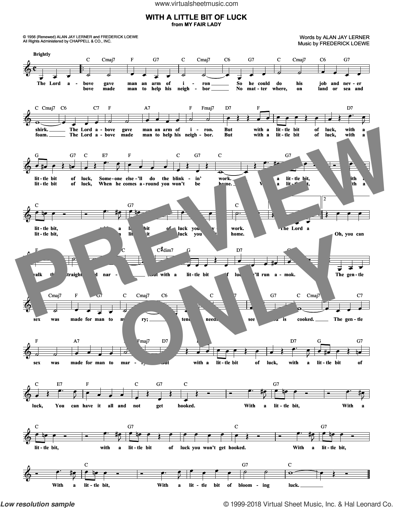 With A Little Bit Of Luck sheet music for voice and other instruments (fake book) by Alan Jay Lerner and Frederick Loewe, intermediate skill level