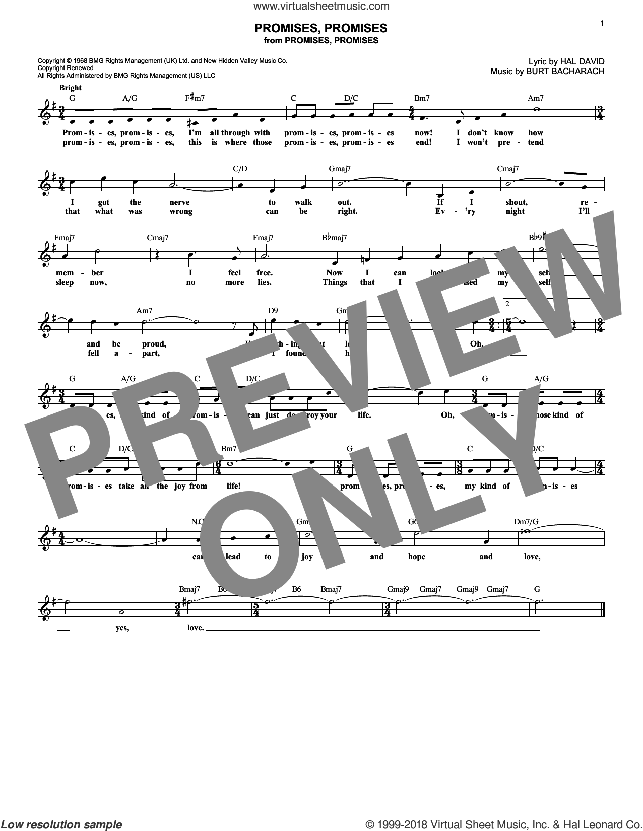 Promises, Promises sheet music for voice and other instruments (fake book) by Burt Bacharach and Hal David, intermediate skill level