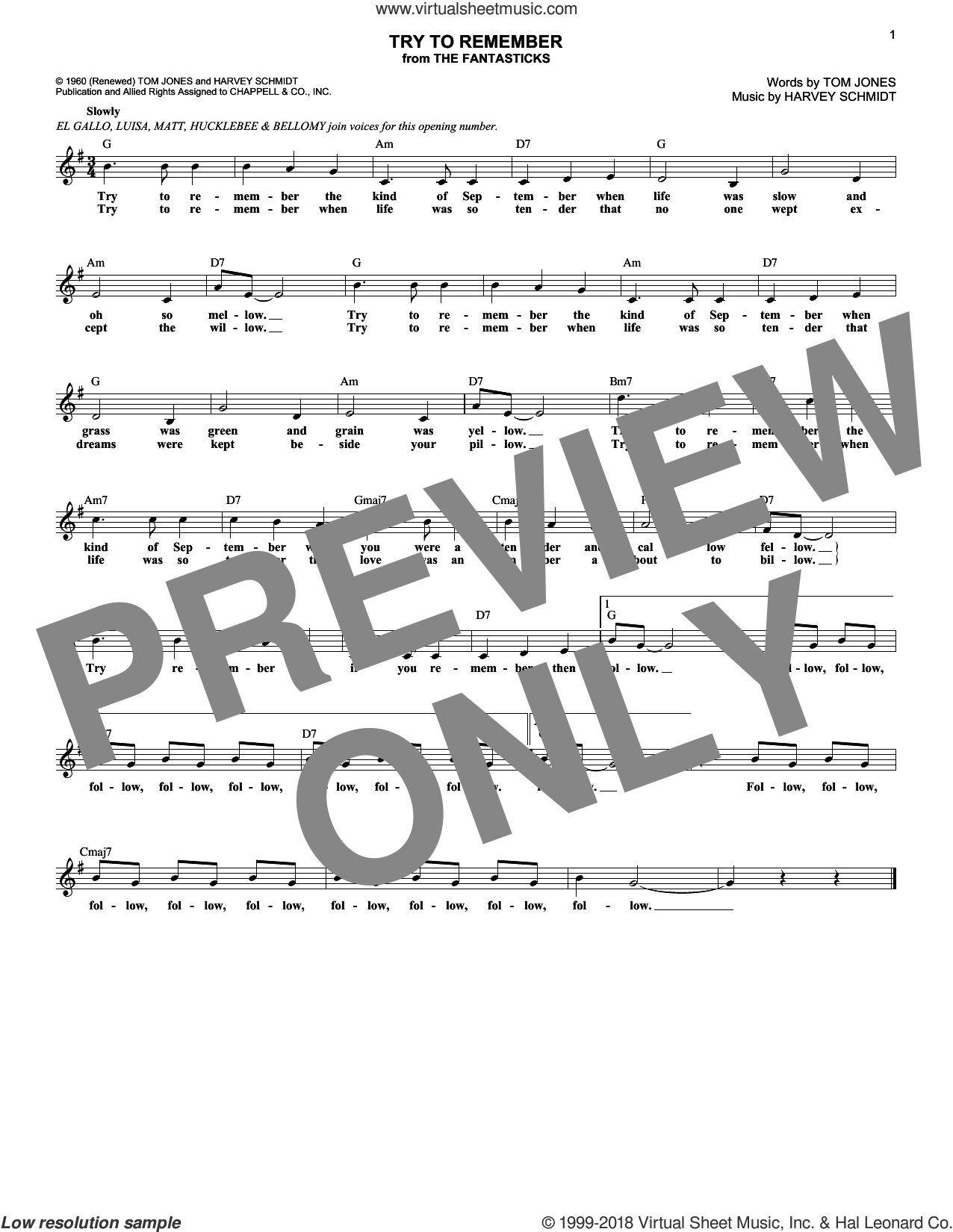 Try To Remember (from The Fantasticks) sheet music for voice and other instruments (fake book) by Tom Jones and Harvey Schmidt, intermediate skill level