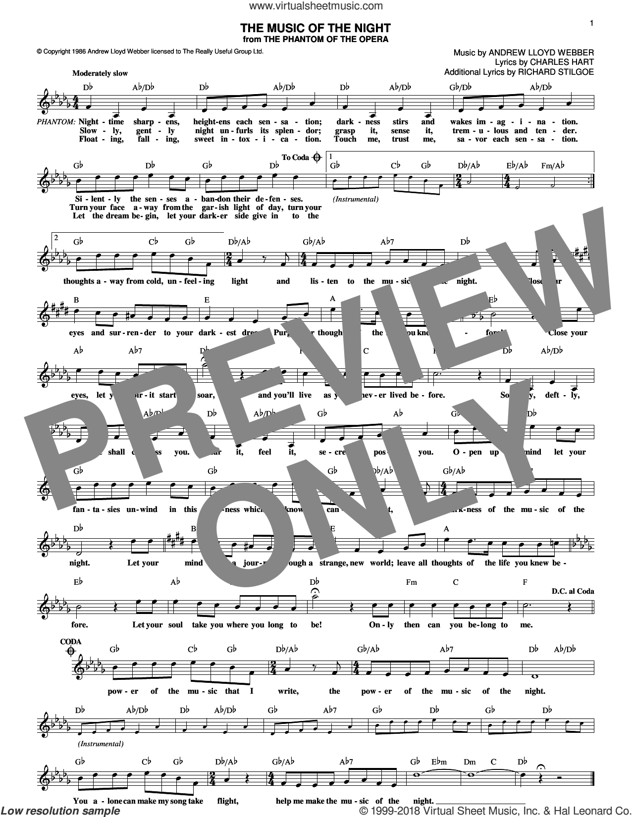 The Music Of The Night sheet music for voice and other instruments (fake book) by Andrew Lloyd Webber, David Cook, Charles Hart and Richard Stilgoe, intermediate skill level