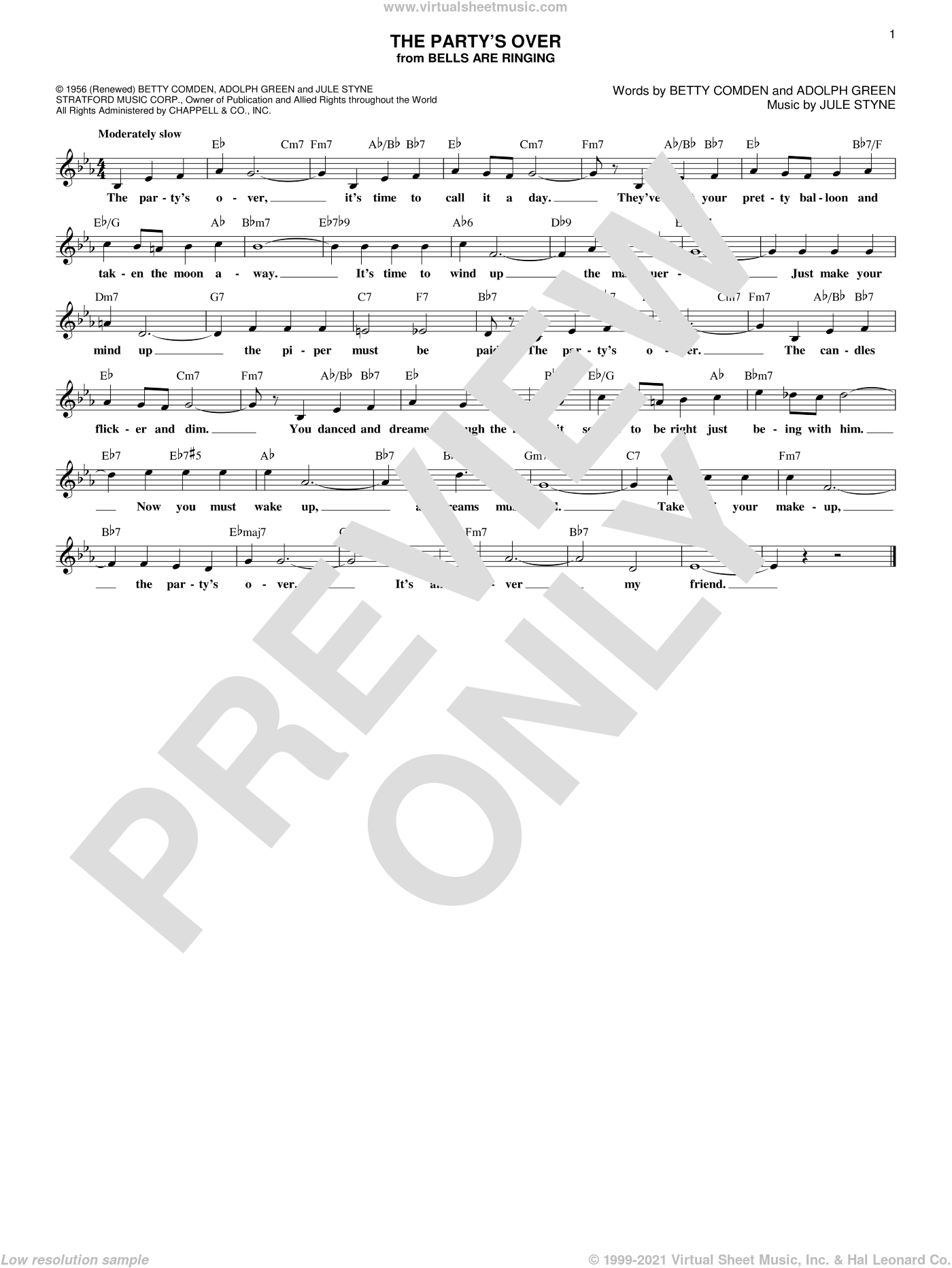 The Party's Over sheet music for voice and other instruments (fake book) by Jule Styne, Adolph Green and Betty Comden, intermediate skill level