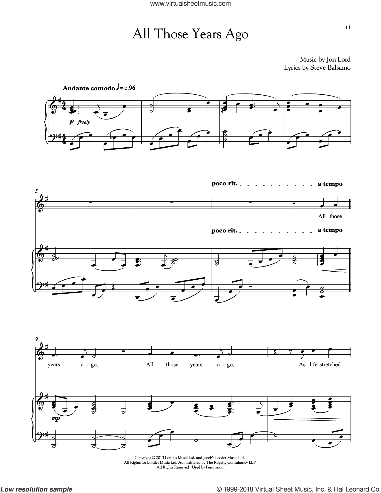 All Those Years Ago sheet music for voice and piano by Jon Lord and Steve Balsamo, intermediate skill level