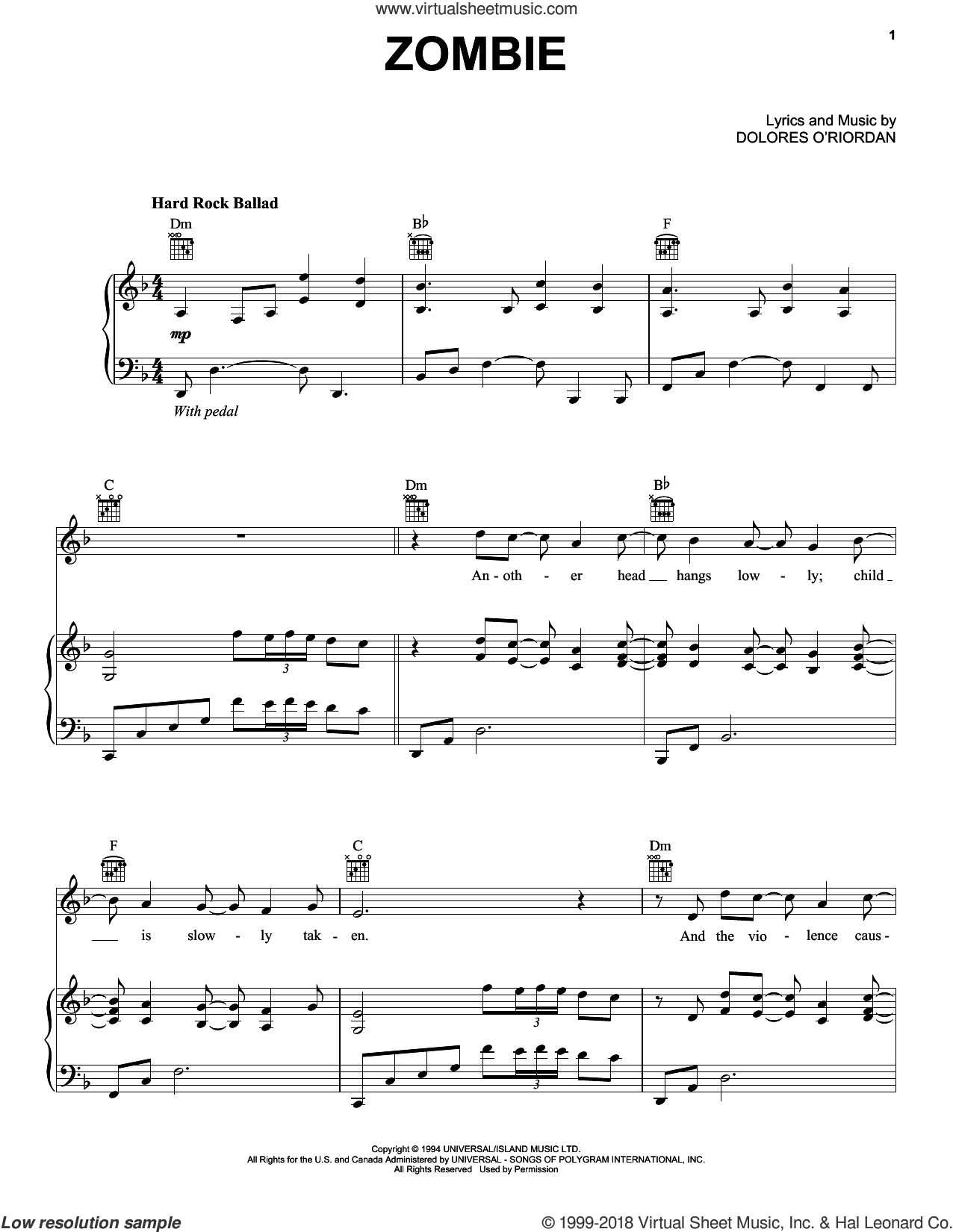 Zombie sheet music for voice, piano or guitar by Bad Wolves and The Cranberries, intermediate skill level