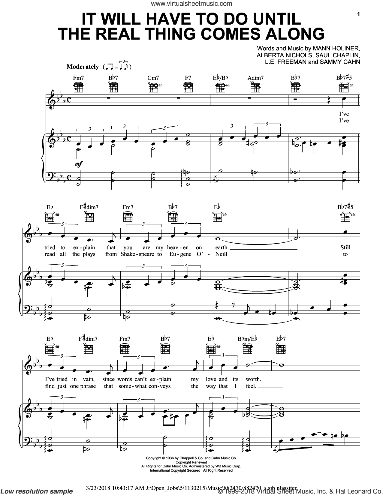 It Will Have To Do Until The Real Thing Comes Along (Until The Real Thing Comes Along) sheet music for voice, piano or guitar by Duke Ellington, James Booker, Alberta Nichols, L.E. Freeman, Mann Holiner, Sammy Cahn and Saul Chaplin, intermediate skill level