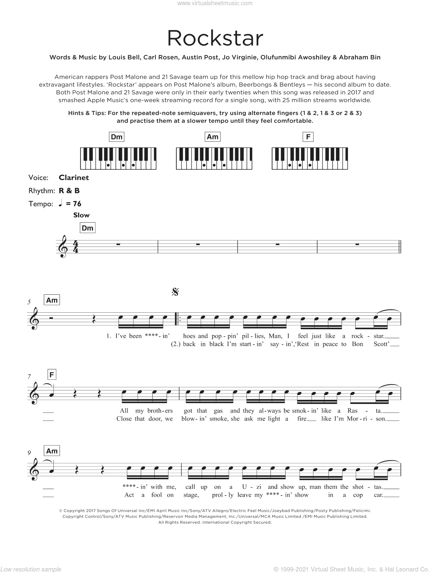 Rockstar (featuring 21 Savage) sheet music for piano solo (keyboard) by Post Malone, 21 Savage, Abraham Bin, Austin Post, Carl Rosen, Jo Virginie, Louis Bell and Olufunmibi Awoshiley, intermediate piano (keyboard)