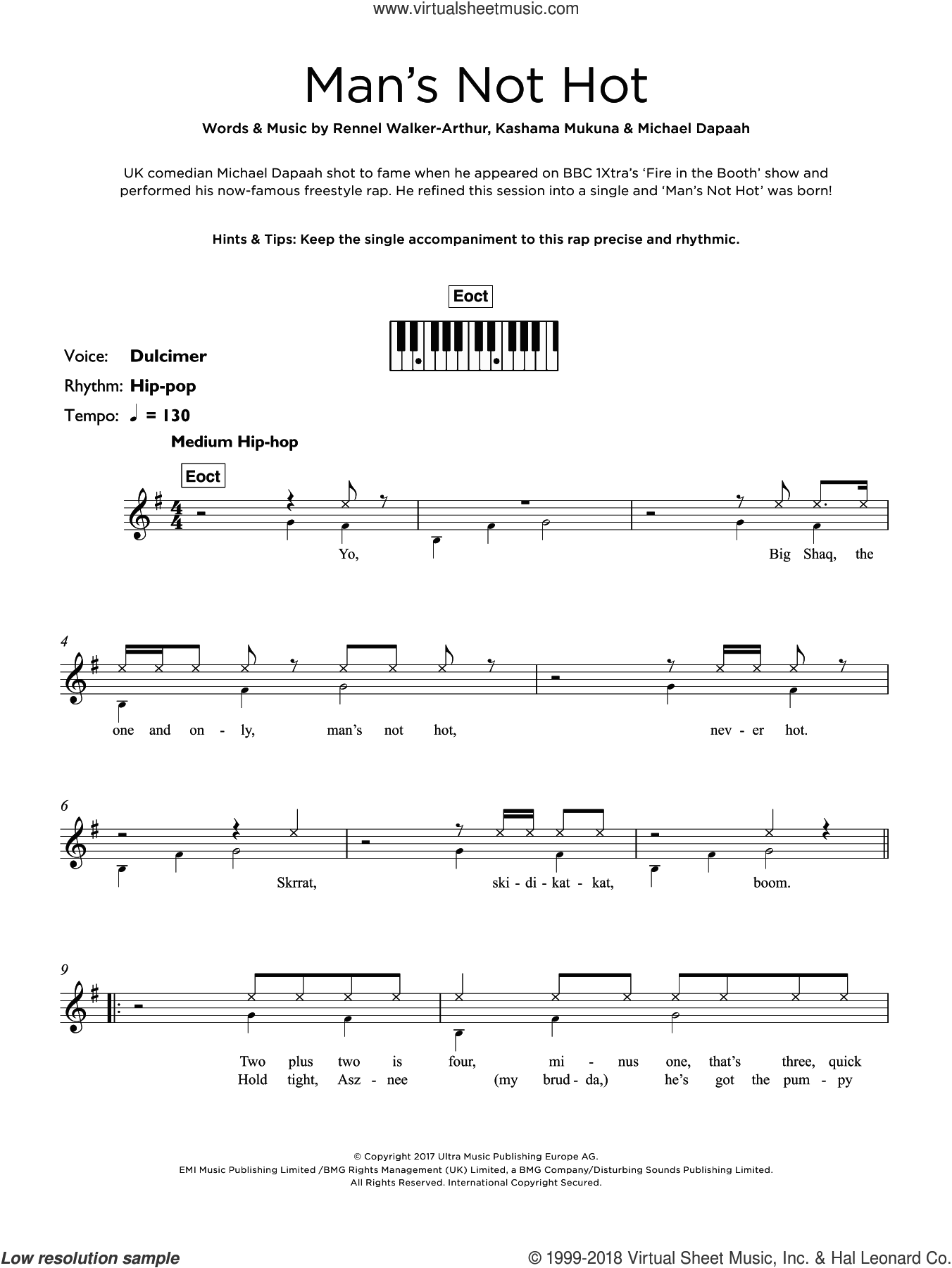 Man's Not Hot sheet music for piano solo (keyboard) by Big Shaq, Kashama Mukuna, Michael Dapaah and Rennel Walker-Arthur, intermediate piano (keyboard)