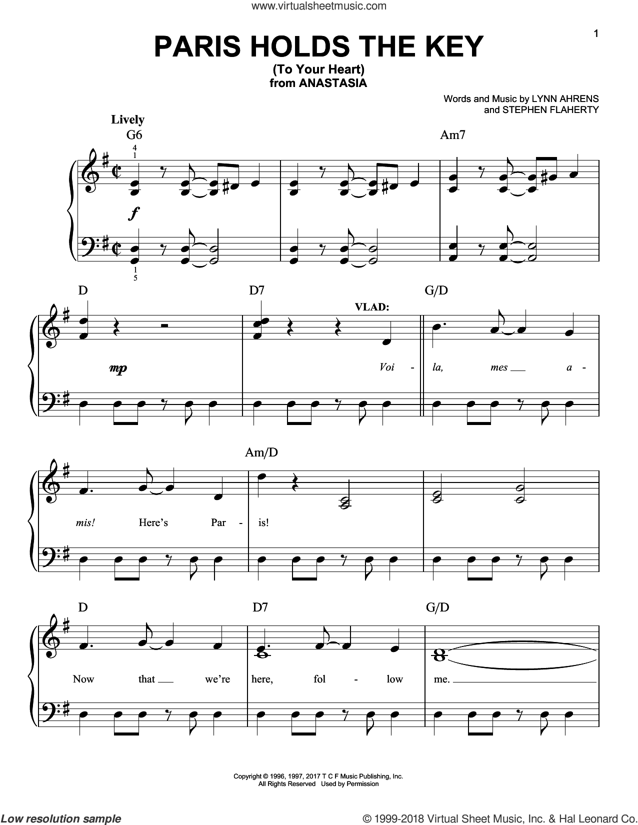 Paris Holds The Key (To Your Heart) sheet music for piano solo by Stephen Flaherty and Lynn Ahrens, easy skill level