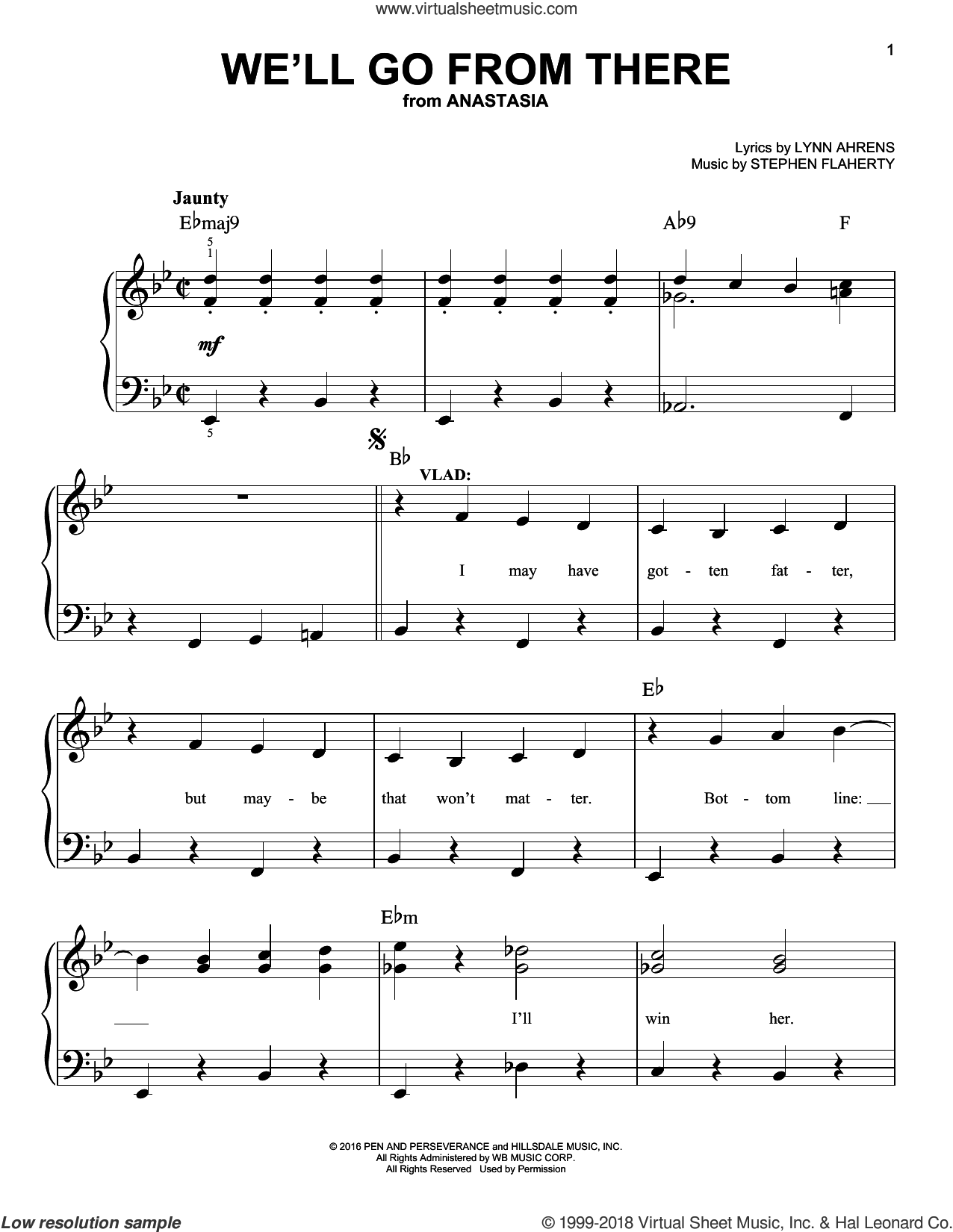 We'll Go From There sheet music for piano solo by Stephen Flaherty and Lynn Ahrens, easy skill level